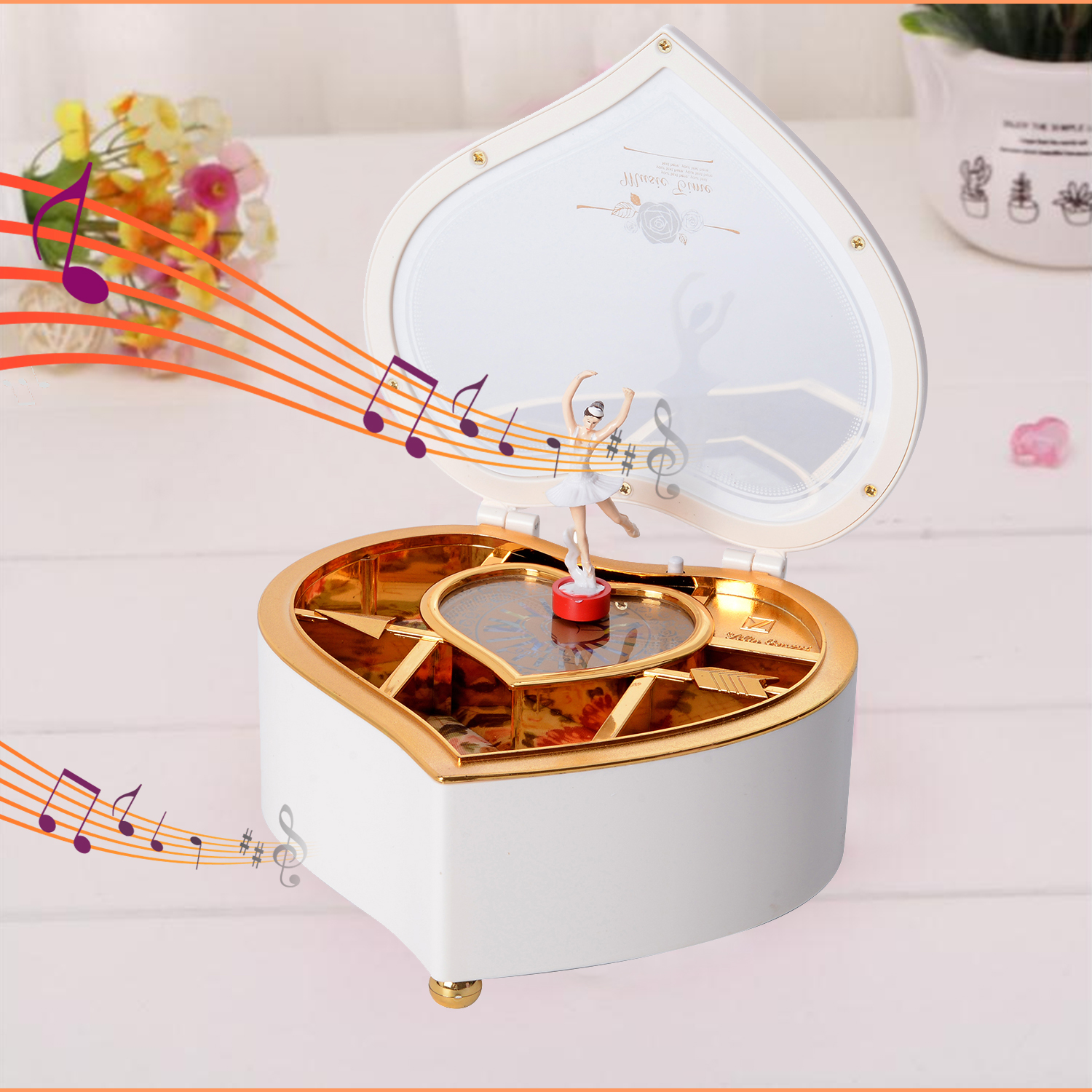 thumbnail 25 - Valentine Heart Shape Music Dancing Jewelry Box with Ballerina Magnetic Dancer