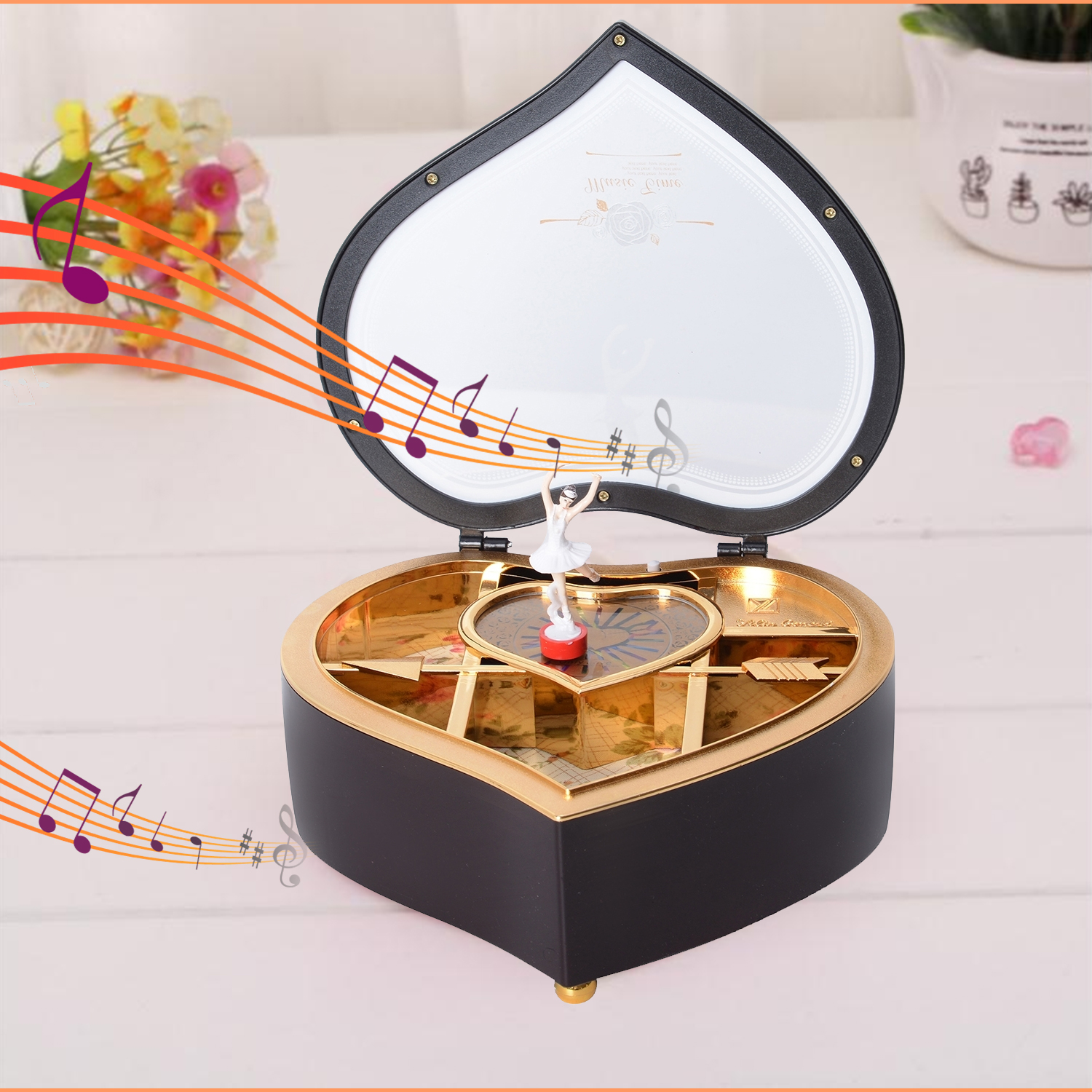 thumbnail 9 - Valentine Heart Shape Music Dancing Jewelry Box with Ballerina Magnetic Dancer