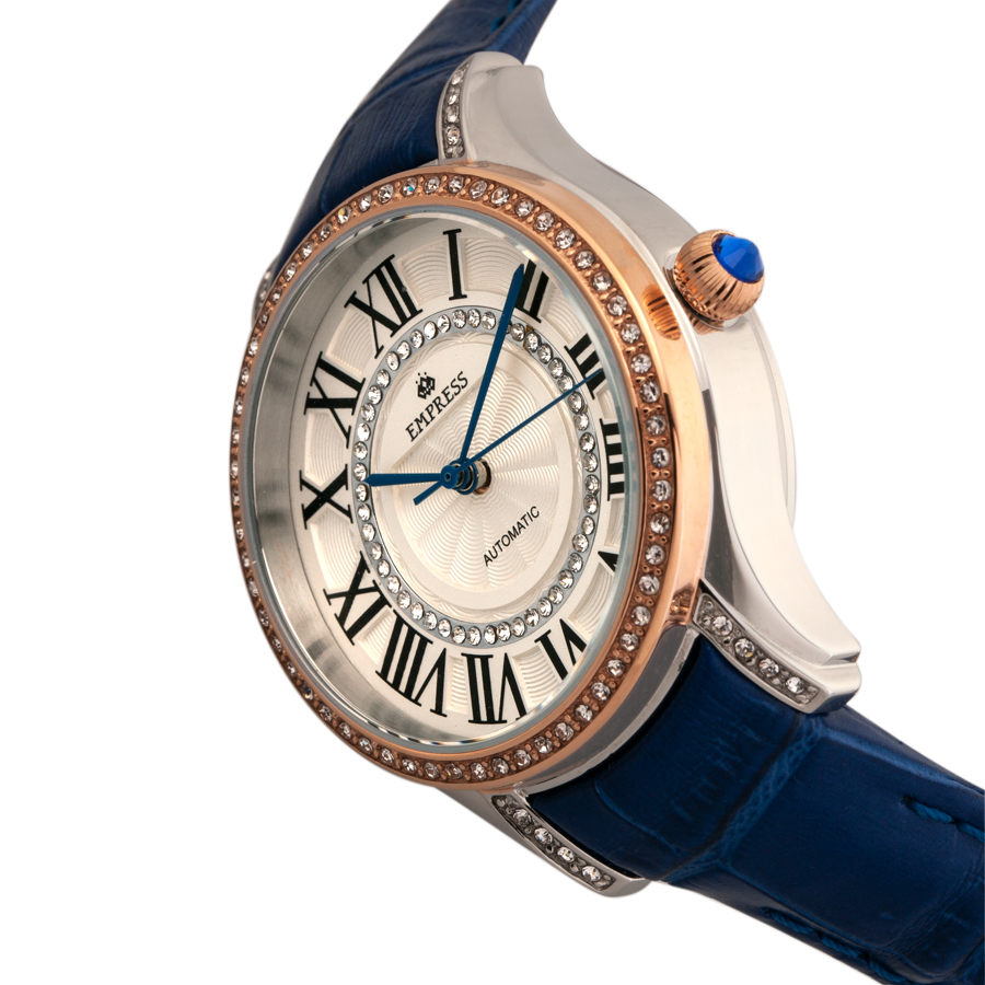 EMPRESS Xenia Automatic Watch with Jeweled Rose Gold Bezel, White Jeweled Dial with Blue Leather Band (TPF Model EMPEM2602)