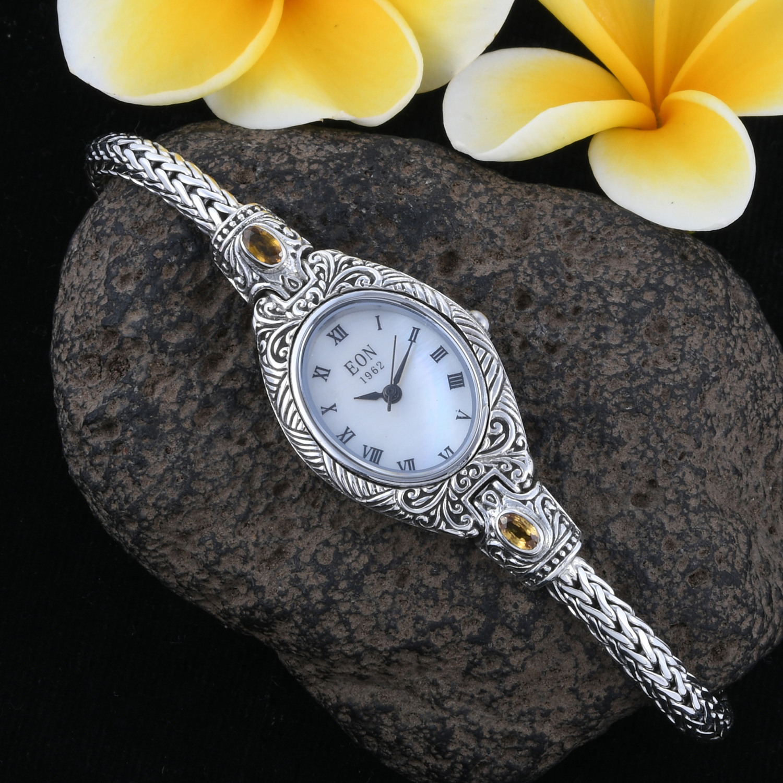 EON 1962 Yellow Sapphire Swiss Movement Water Resistant Ladies Bracelet Watch (7 In) in Sterling Silver TGW 0.89 cts.
