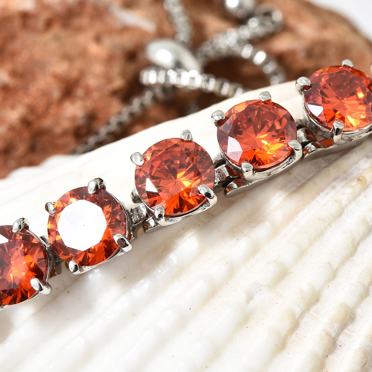 Steel-Cubic-Zirconia-CZ-Orange-Elegant-Adjustable-Bolo-Bracelet-for-Women-Ct-21 thumbnail 9