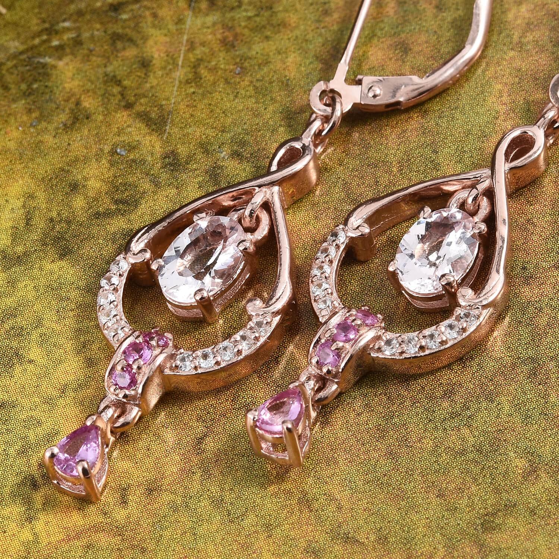 Pink Morganite, Multi Gemstone Vermeil RG Over Sterling Silver Inner Drop Lever Back Earrings TGW 1.95 cts.