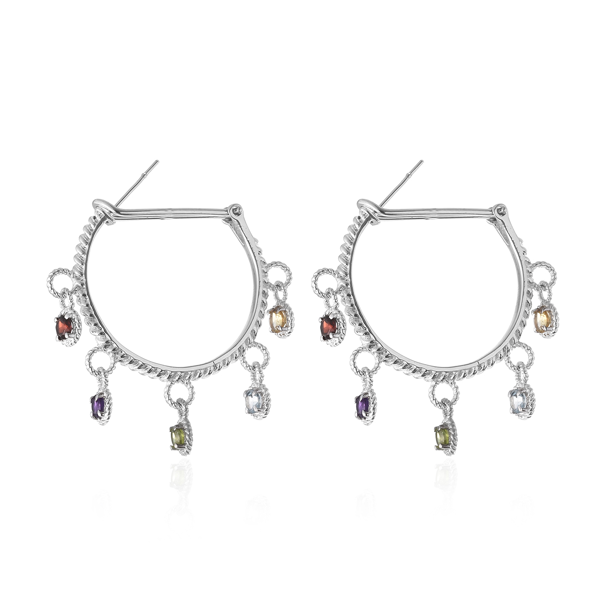 Multi Gemstone Stainless Steel Omega Clip Drop Earrings TGW 2.80 cts.