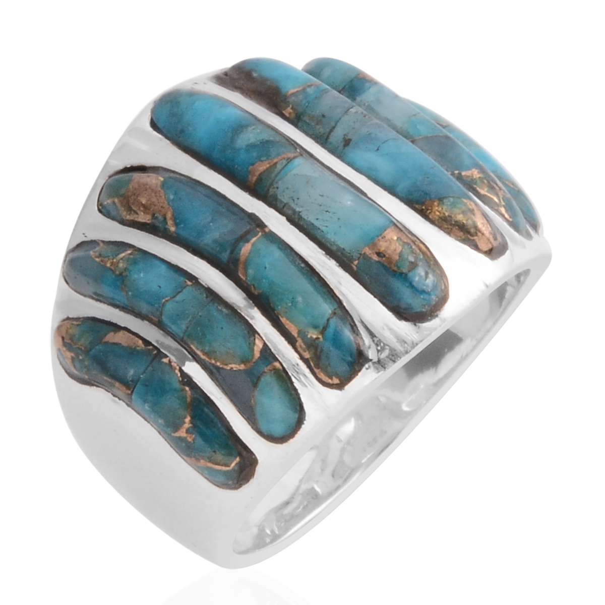 Santa Fe Style Mojave Turquoise Ring in Sterling Silver (Size 8.0) 7.00 ctw