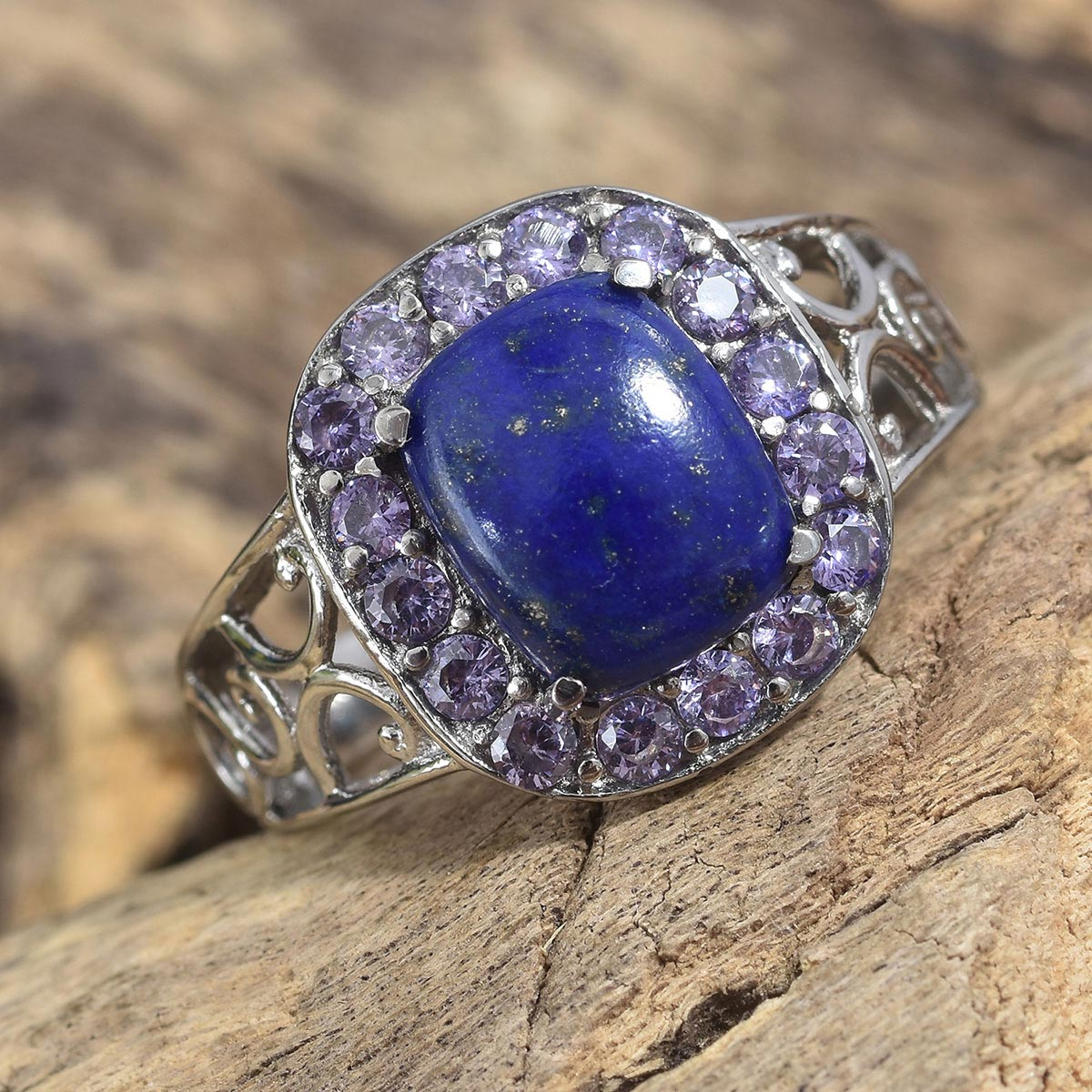 Lapis Lazuli, Purple CZ Ring in Stainless Steel (Size 6.0) 5.90 ctw