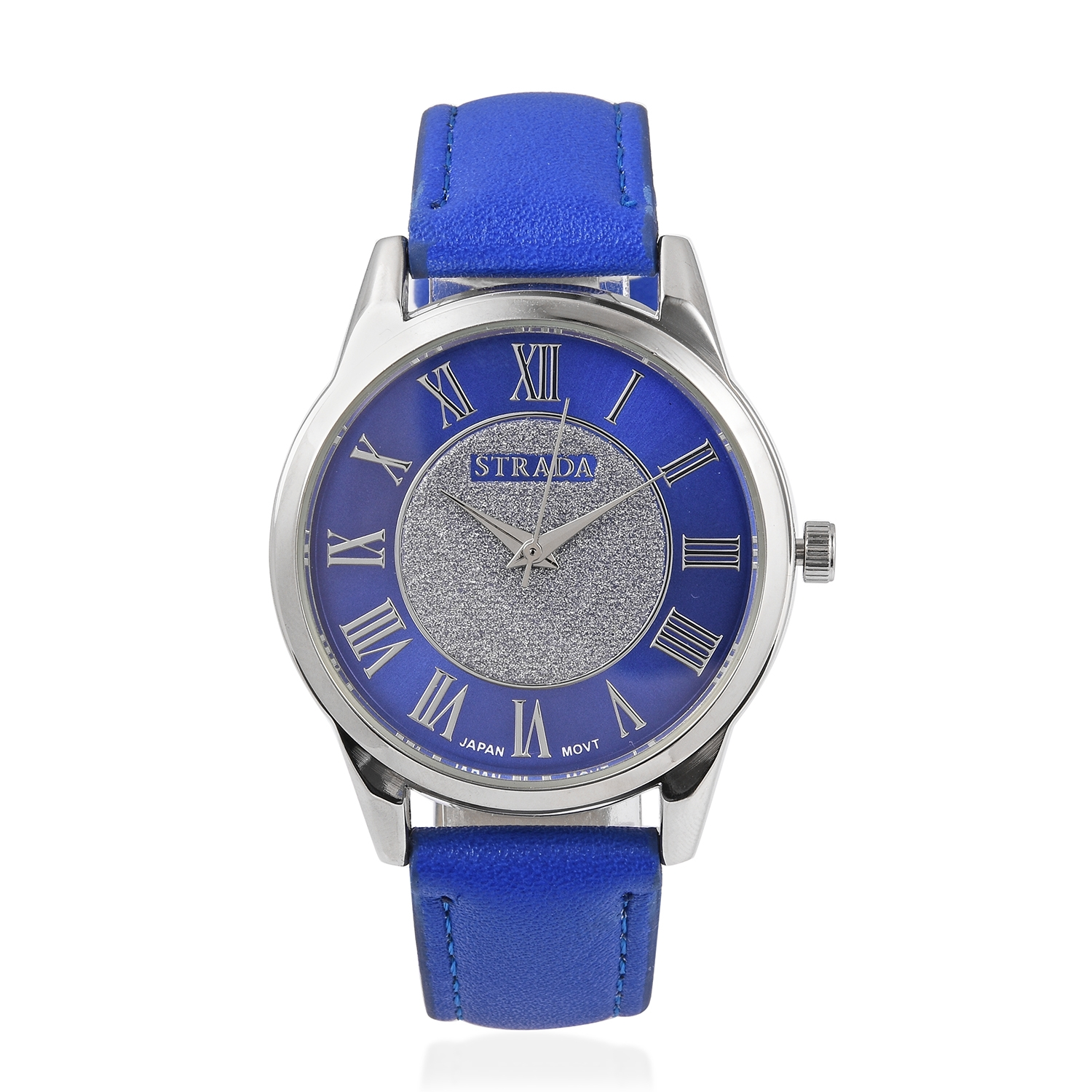 STRADA Japanese Movement Water Resistant Watch with Blue Faux Leather Band and Stainless Steel Back & Simulated Blue Sapphire Stainless Steel Earrings and Pendant With Chain (20 in) TGW 11.00 cts.