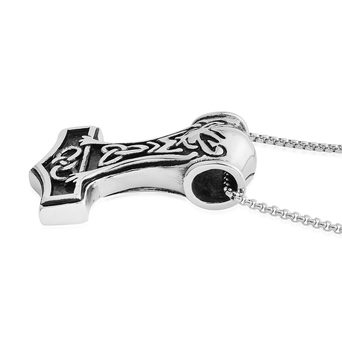 Black Oxidized Stainless Steel Hammer Pendant With Chain (24 in)