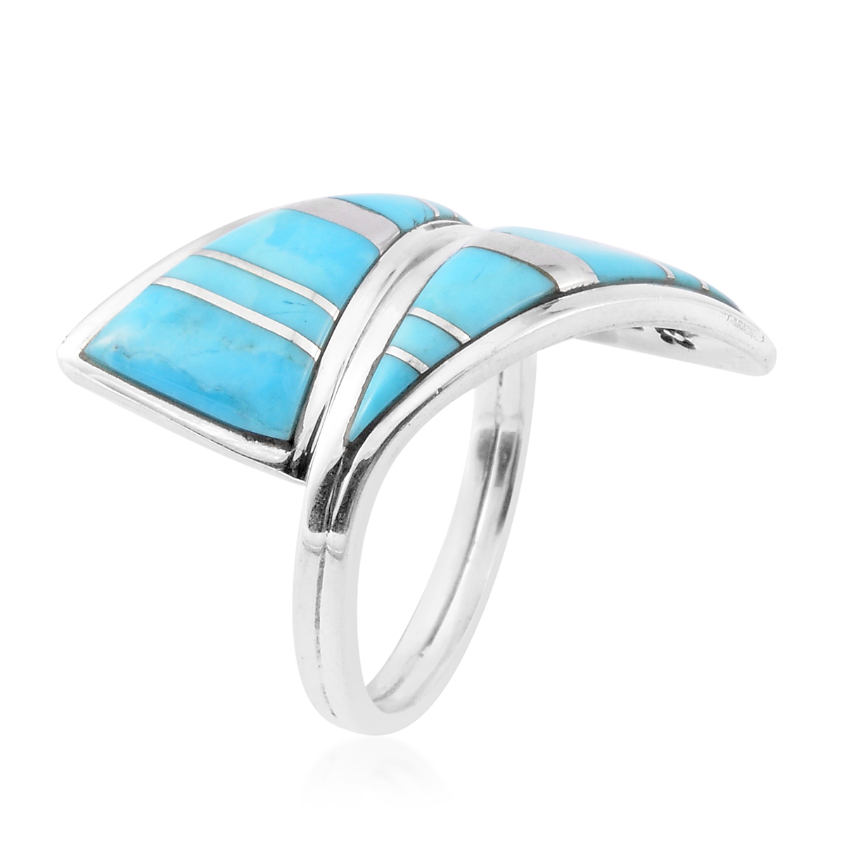 Santa Fe Style Kingman Turquoise Wrap Ring in Sterling Silver (Size 6.0) 3.50 ctw