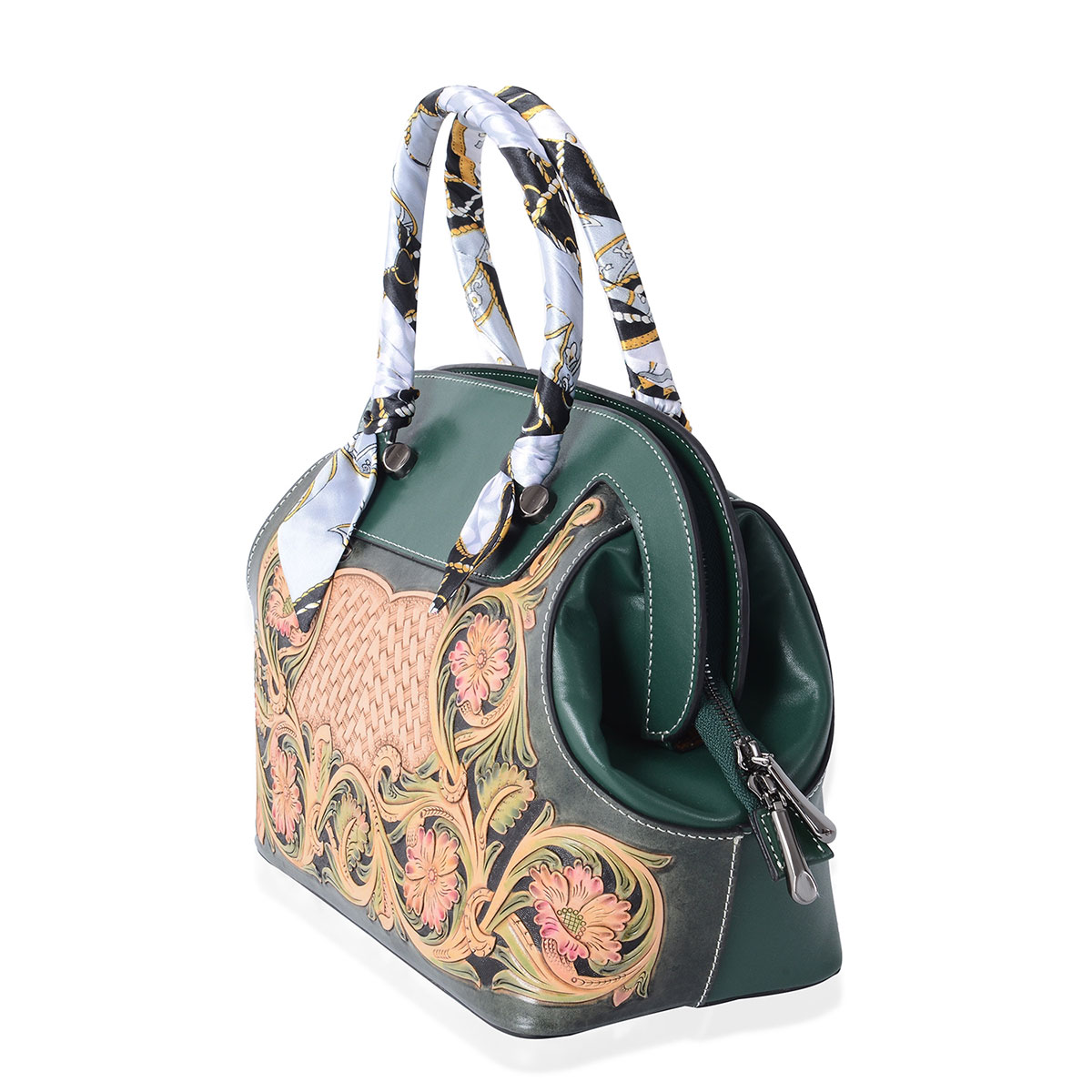 3b7a1a7c845d6 ... Luxury - Green 3D Engraved Flower Pattern Genuine Leather Tote Bag  (12x6x9 in) ...