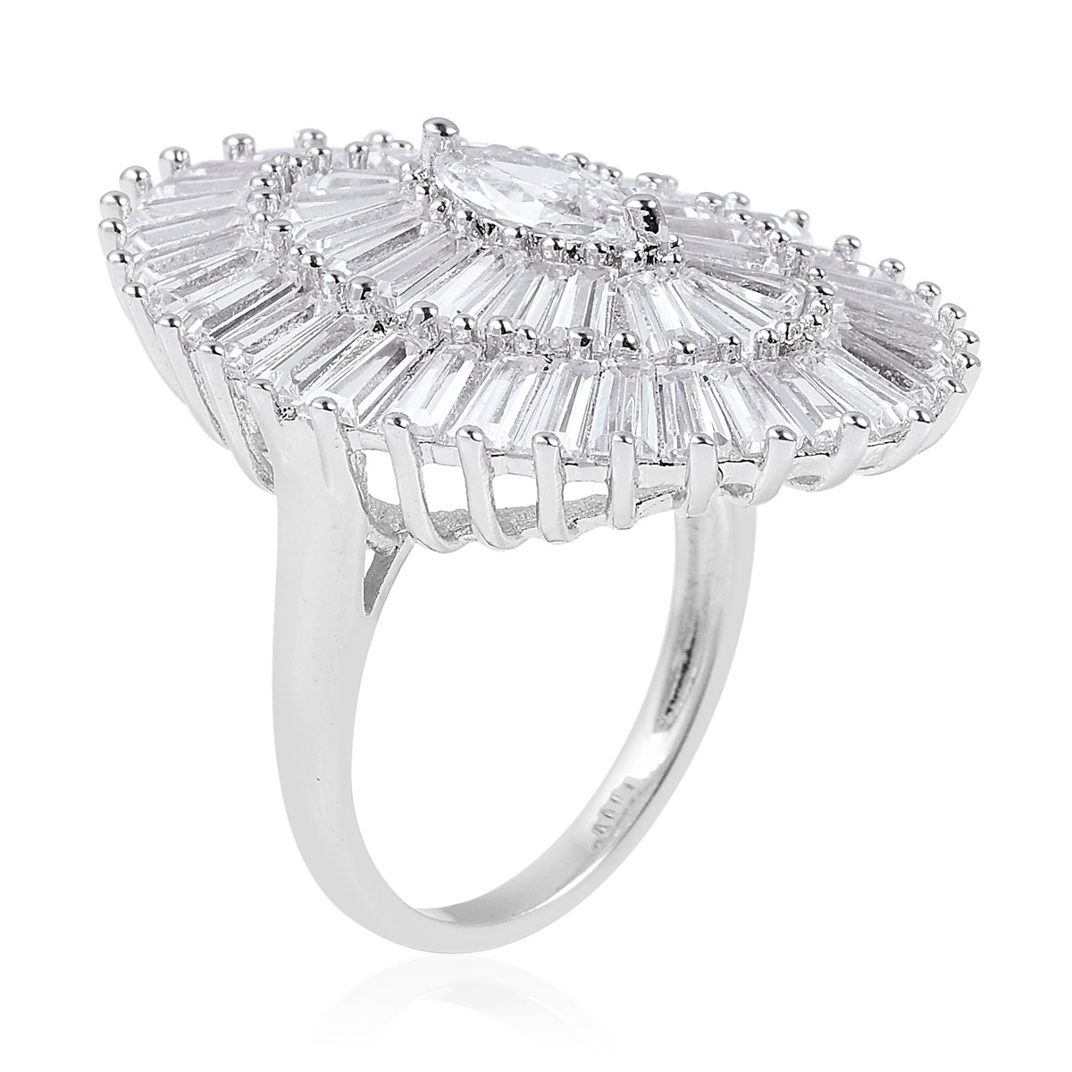 White CZ Ring in Silvertone (Size 8.0) 7.50 ctw