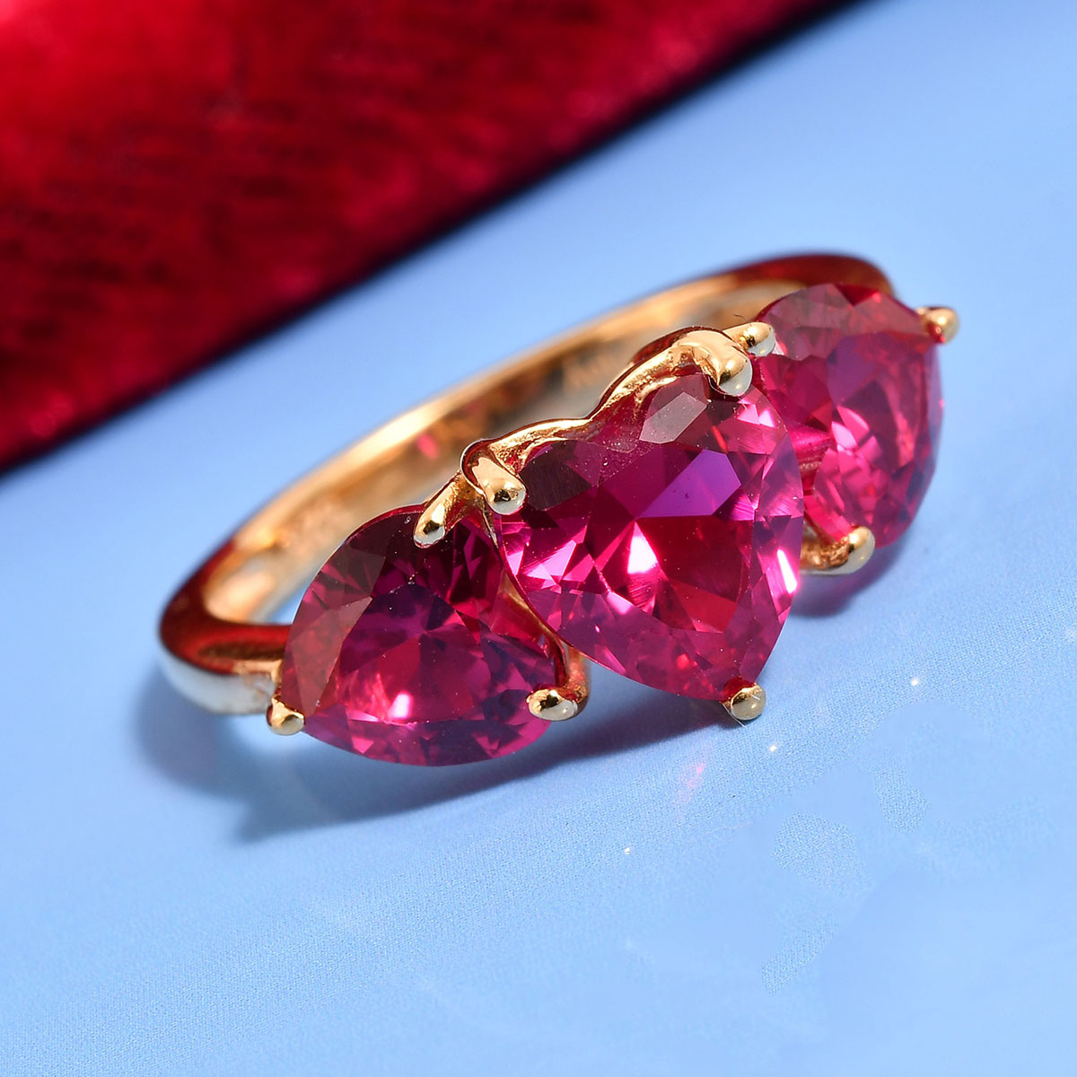 Ruby CZ 14K YG Over Sterling Silver Heart Trilogy Ring (Size 10.0) 3.30 ctw