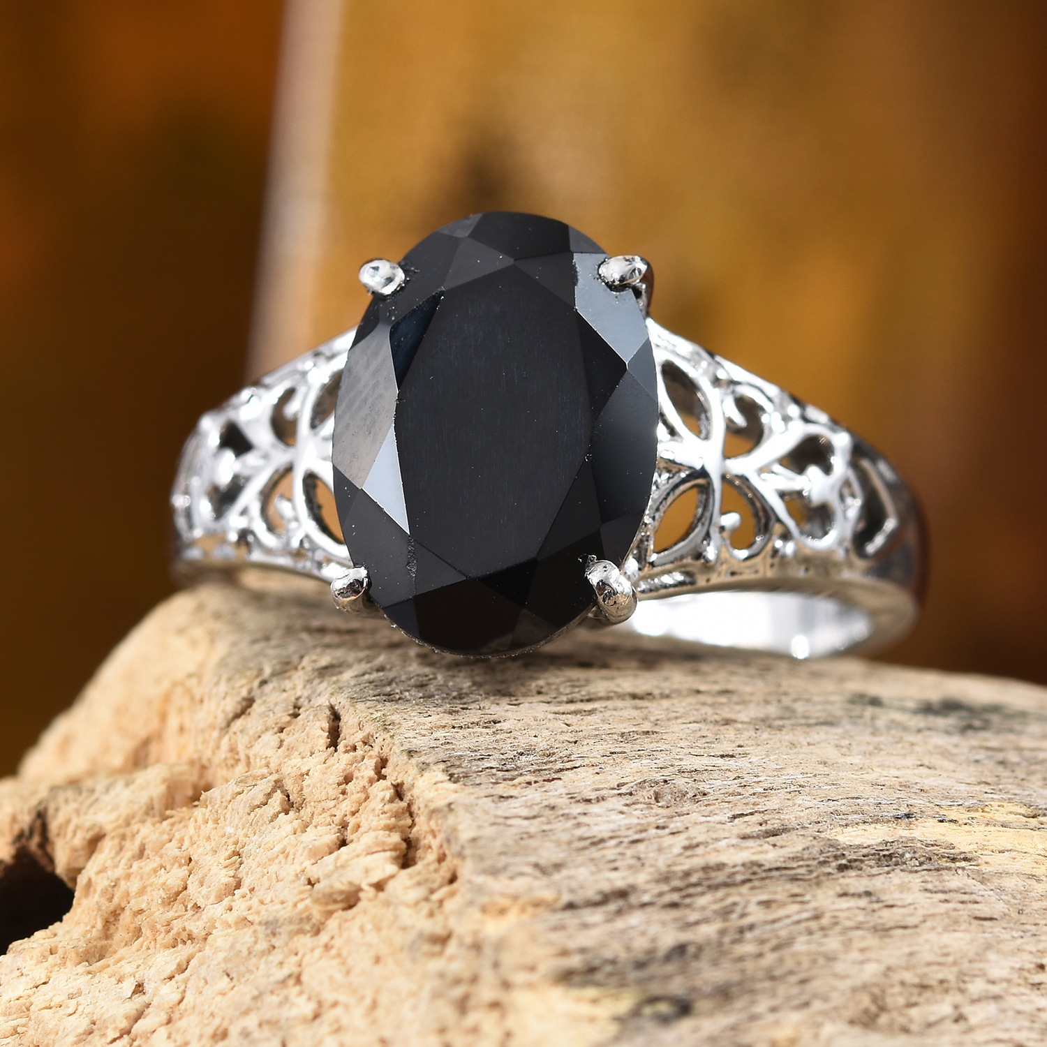 Thai Black Spinel Openwork Solitaire Ring in Stainless Steel (Size 8.0) 7.25 ctw