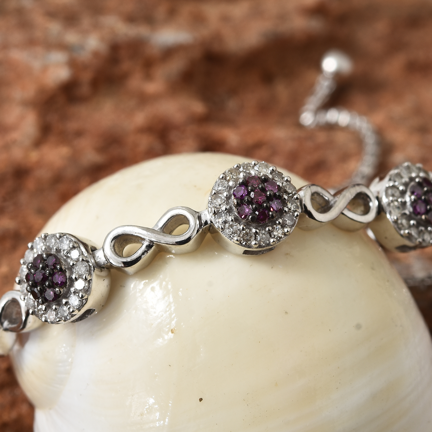 19907e457 ... Purple Diamond (IR), Diamond Platinum Over Sterling Silver Infinity  Bolo Bracelet (Adjustable ...