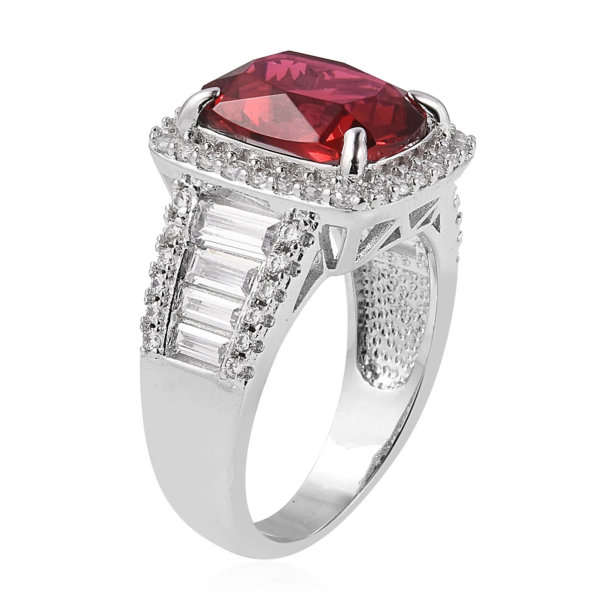 Red Glass, White CZ Ring in Silvertone (Size 10.0) 1.93 ctw