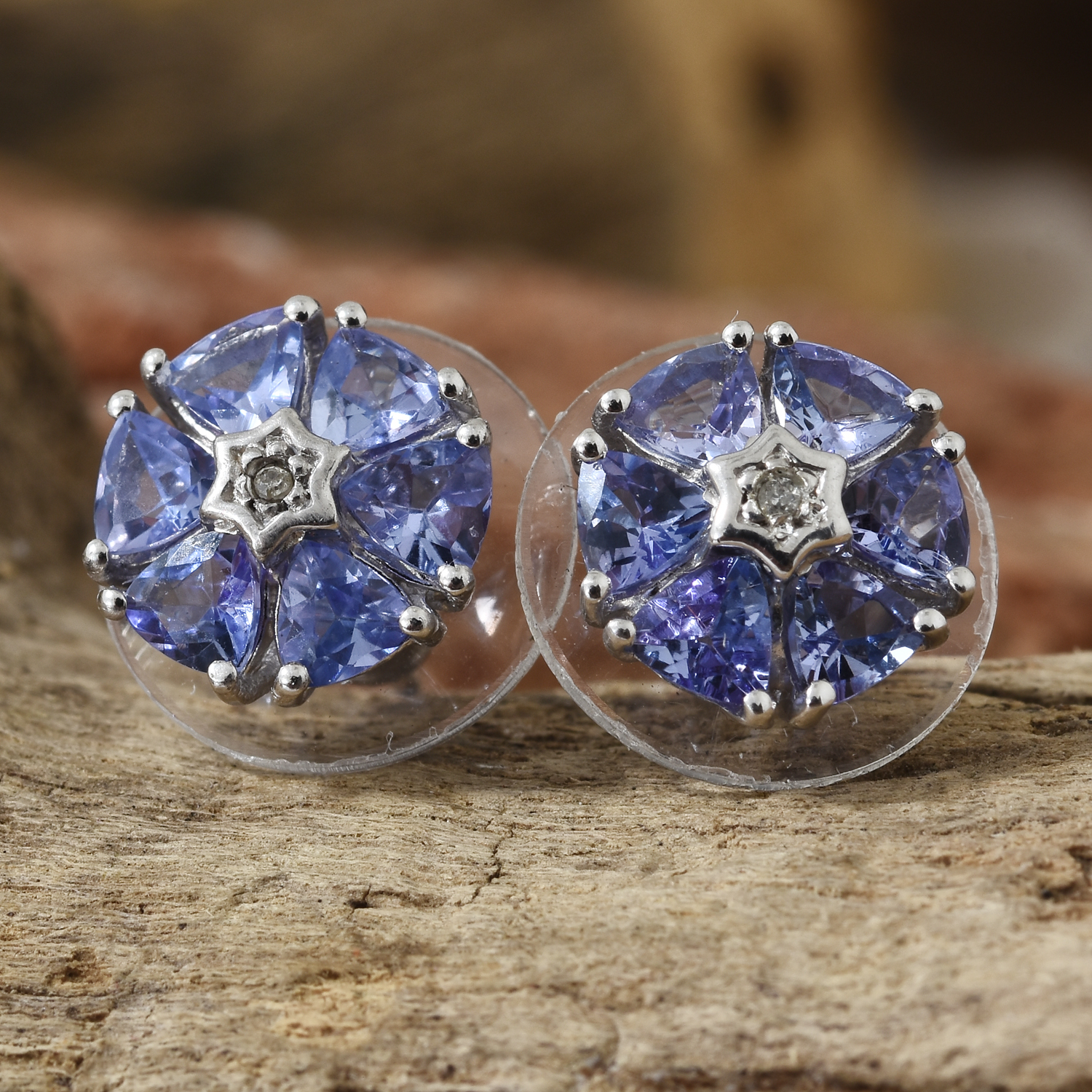 9cb056fe6c56b Tanzanite, Diamond Accent Platinum Over Sterling Silver Floral Stud  Earrings TGW 2.05 cts.