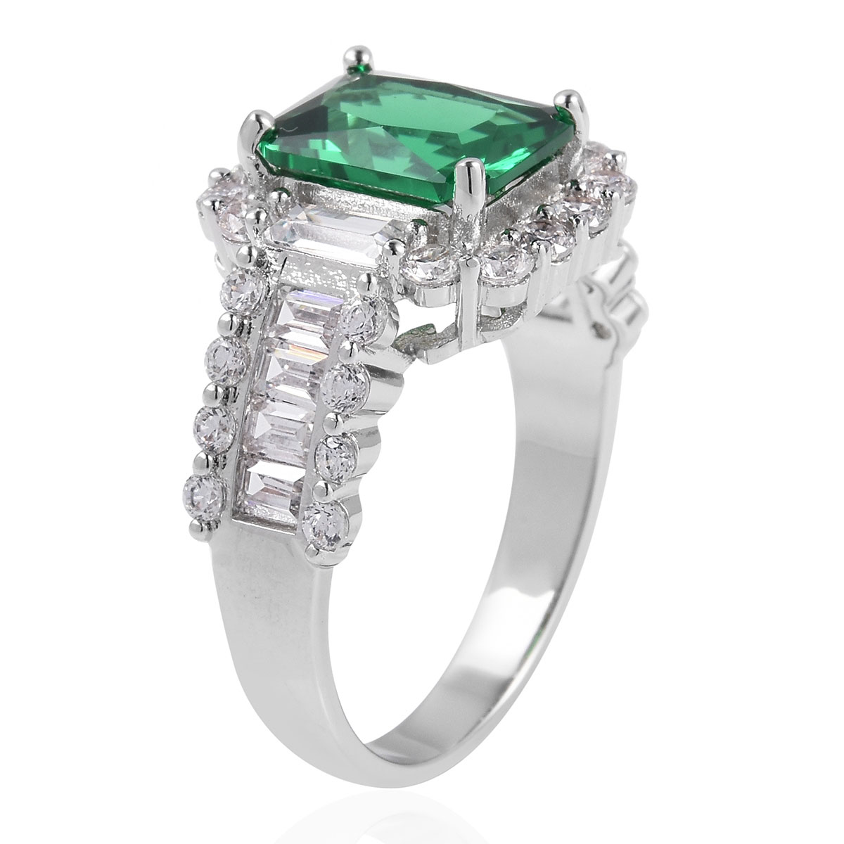Green and White CZ Ring in Silvertone (Size 10.0) 5.86 ctw