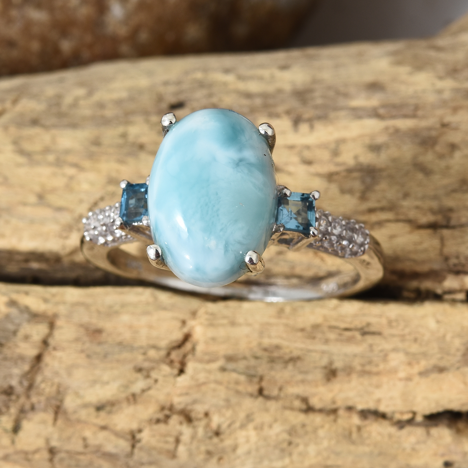 Larimar, Multi Gemstone Ring in Platinum Over Sterling Silver (Size 9.0) 6.77 ctw