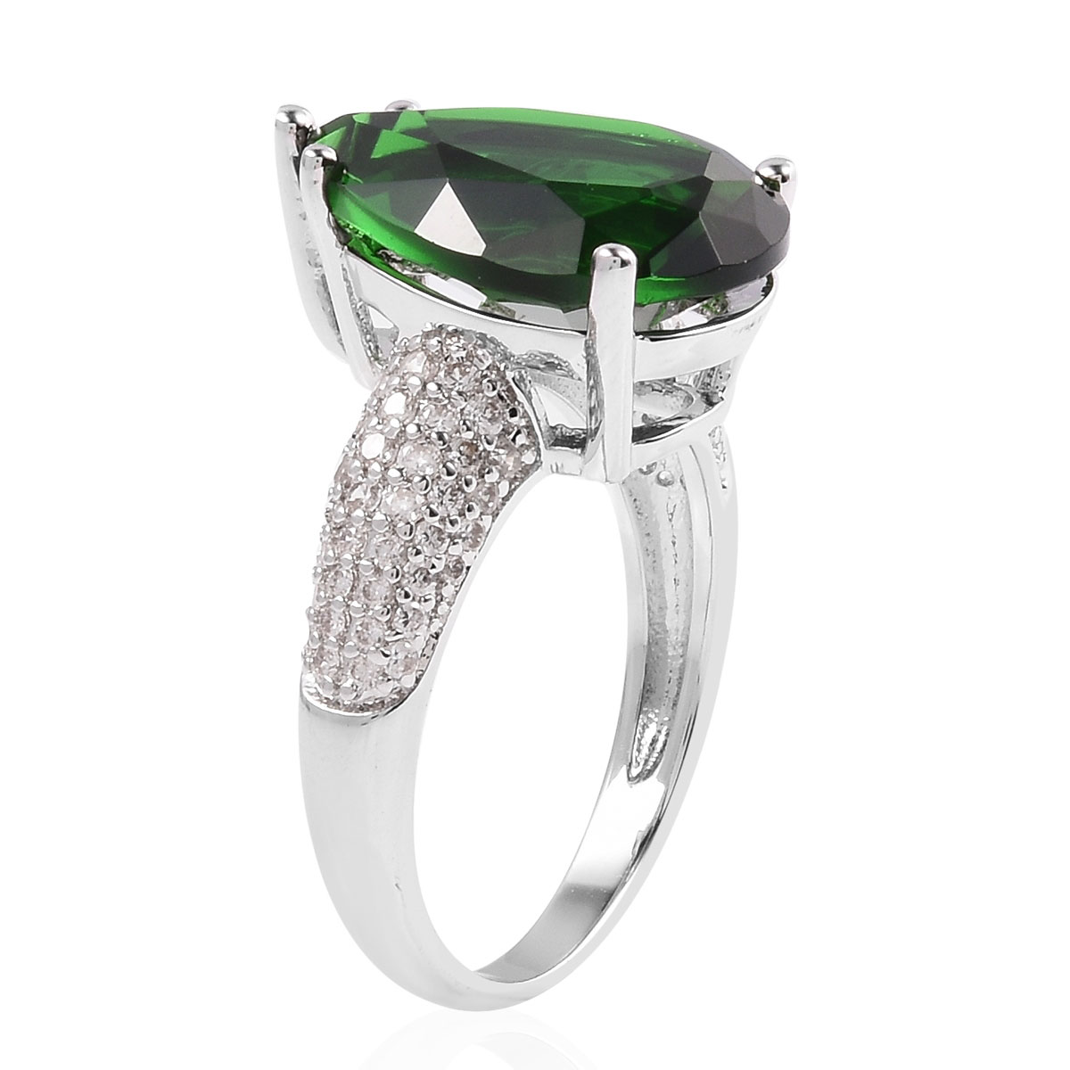 Shop LC Delivering Joy Statement Ring Green Glass White Cubic Zirconia CZ Jewelry for Women Size 6 Ct 14.6