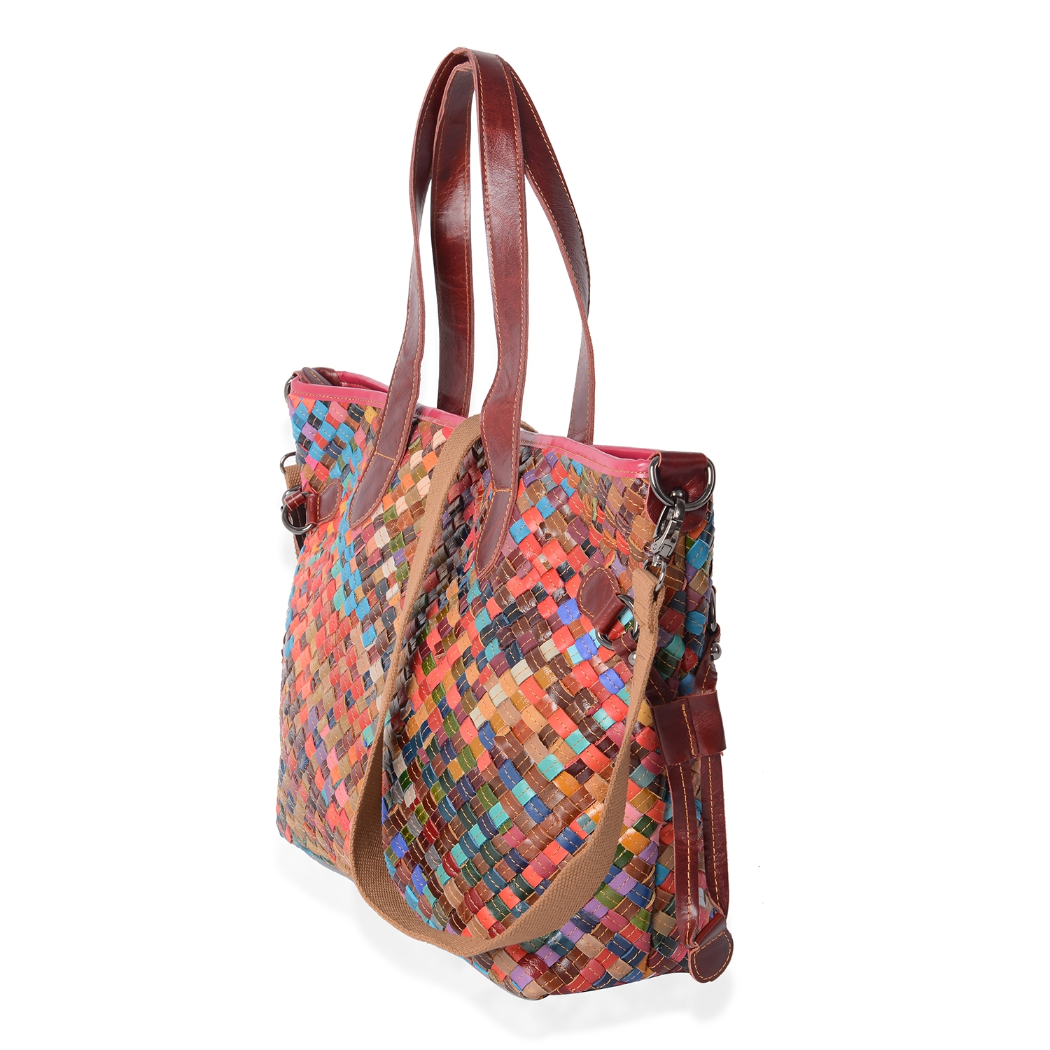 CHAOS BY ELSIE Mutli Color Woven Genuine Leather Tote Bag (17x5x12 in) with Detachable Shoulder Strap