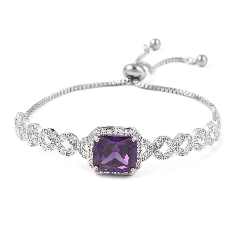 12-Color-Options-Cubic-Zirconia-Bracelet-Chain-Pendant-Necklace-Set-Adjustable thumbnail 72