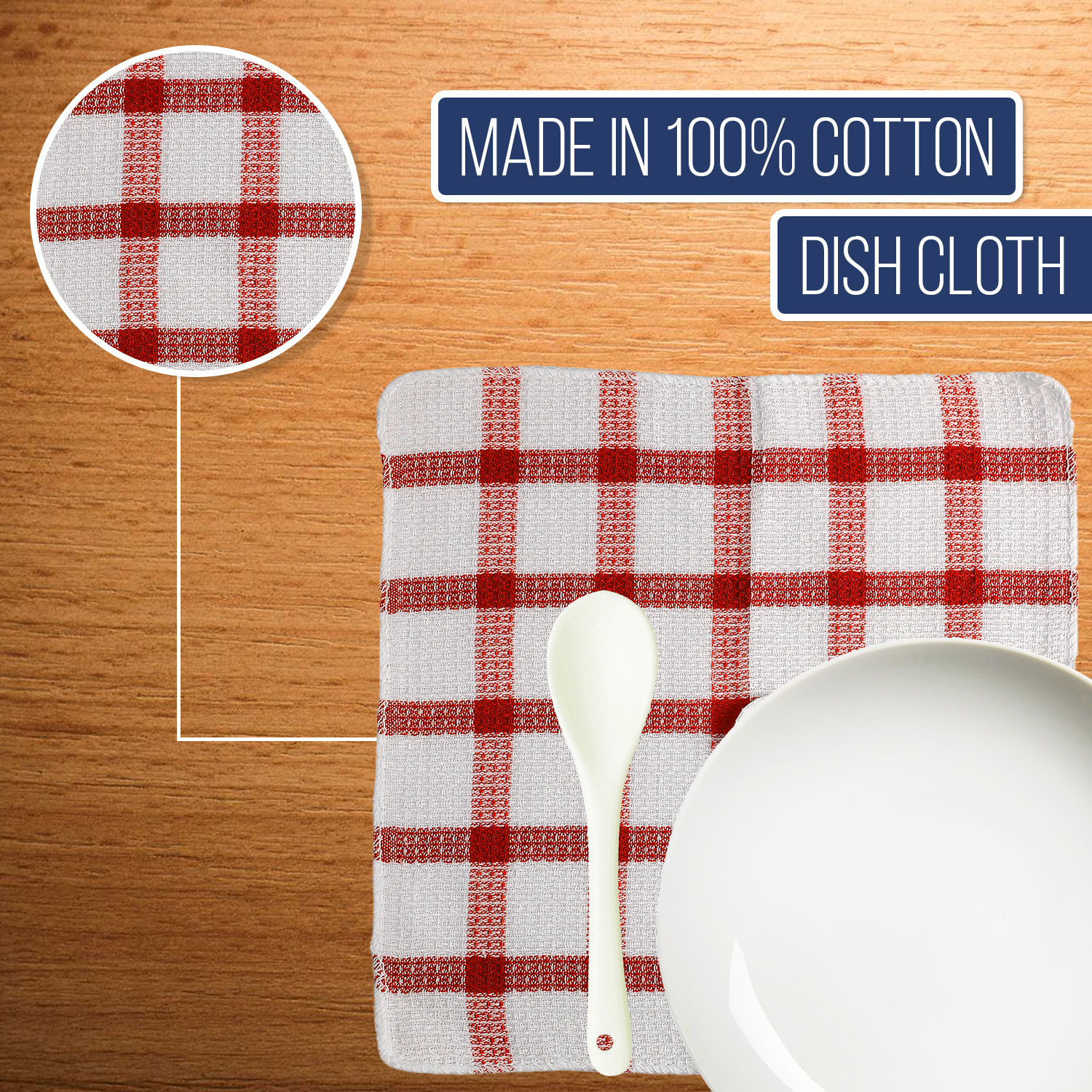 Set-of-24-Checkered-100-Cotton-Dish-Cloth-Kitchen-Cleaning-Cloth thumbnail 14