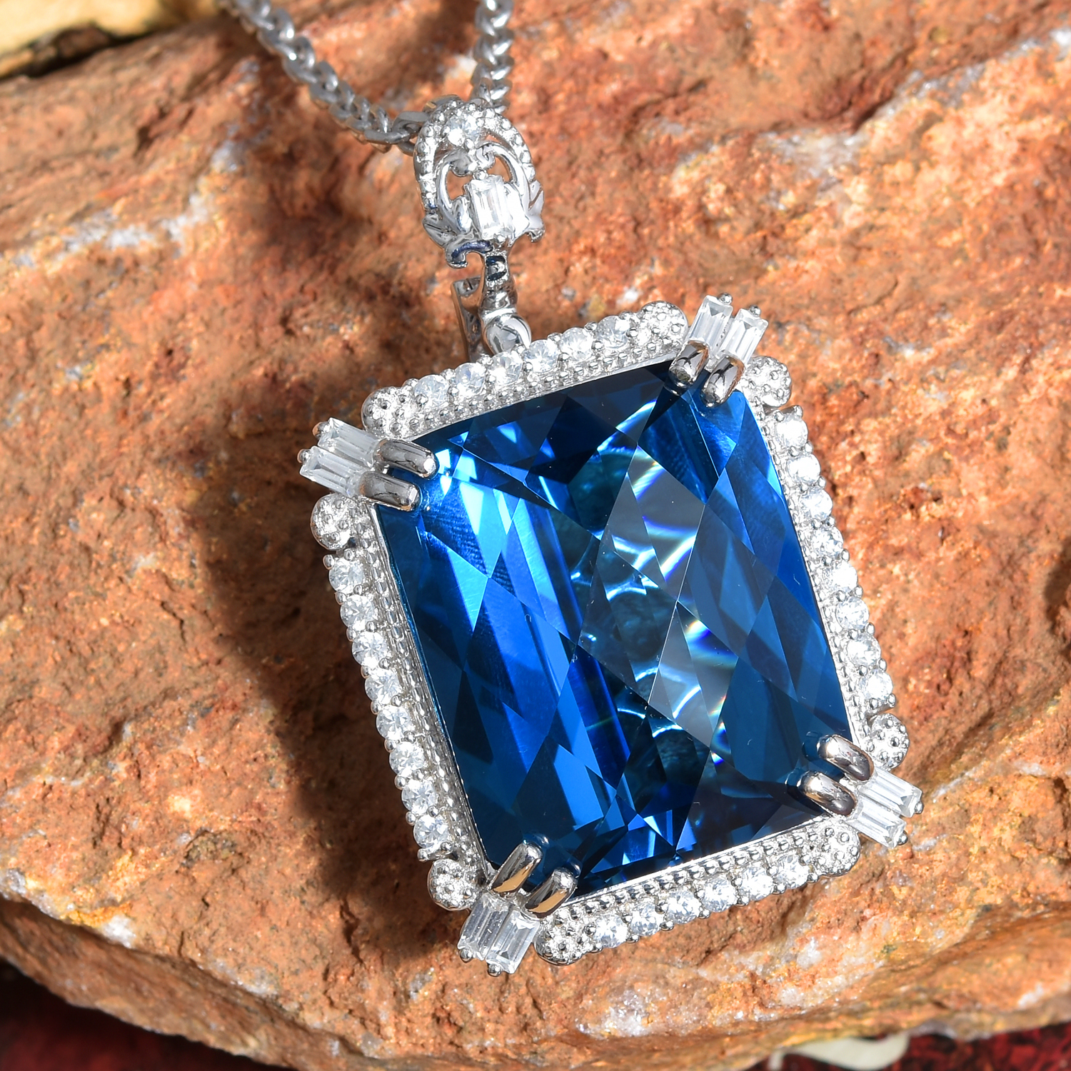 London Blue Topaz, Cambodian Zircon Pendant with Rope Necklace (20 in) in  Platinum Over Sterling Silver 122 47 ctw