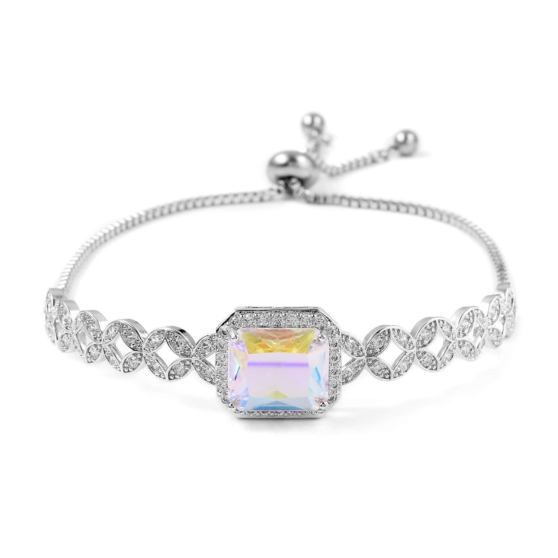 12-Color-Options-Cubic-Zirconia-Bracelet-Chain-Pendant-Necklace-Set-Adjustable thumbnail 47