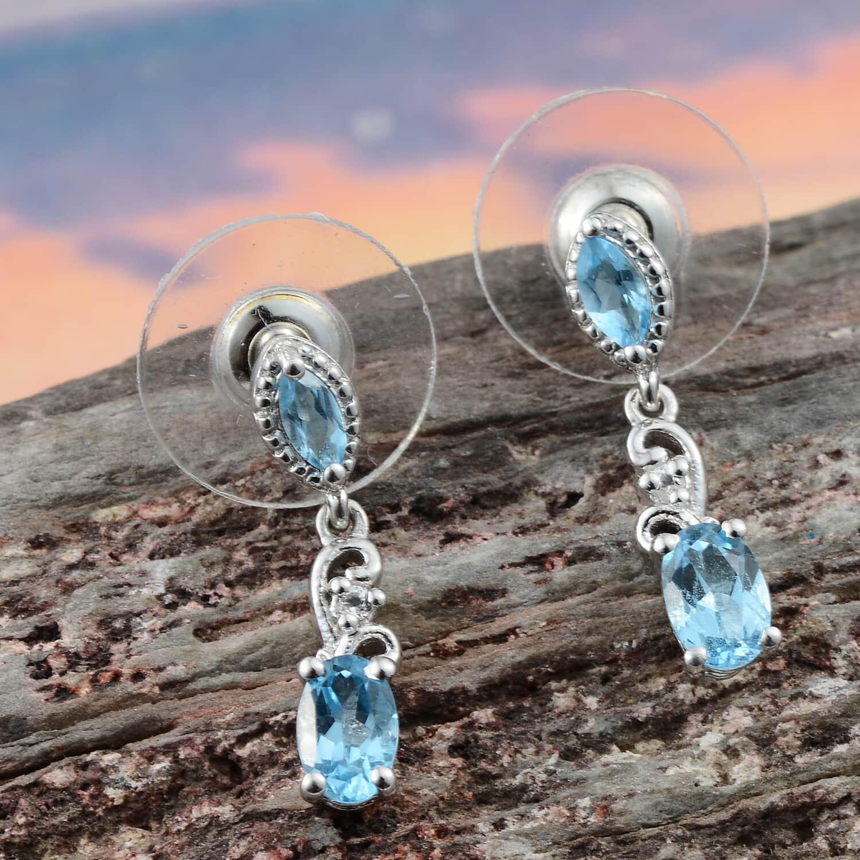 Marambaia Topaz, White Topaz Earrings in Platinum Over Sterling Silver 1.46 ctw