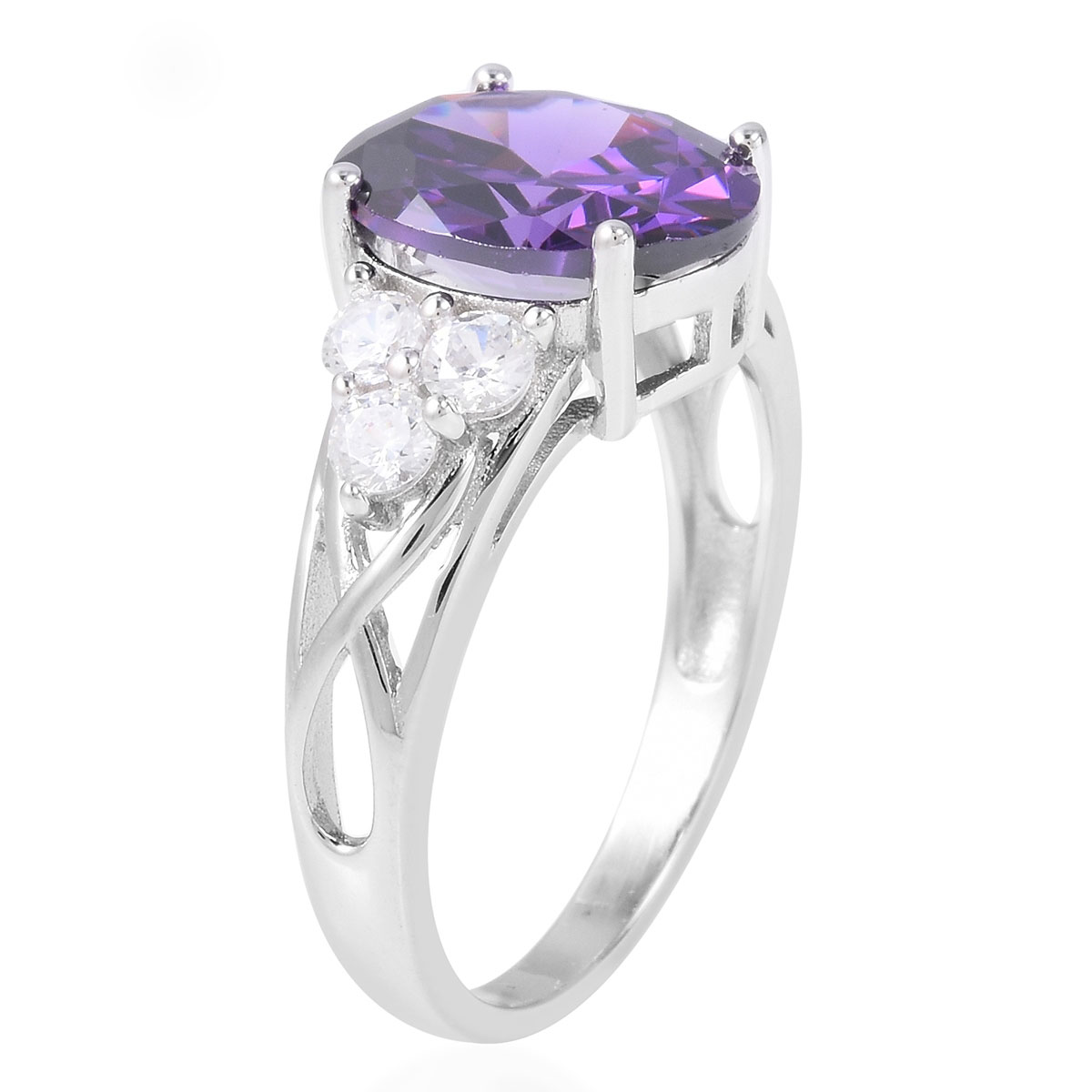 Purple and White CZ Ring in Sterling Silver (Size 6.0) 6.68 ctw