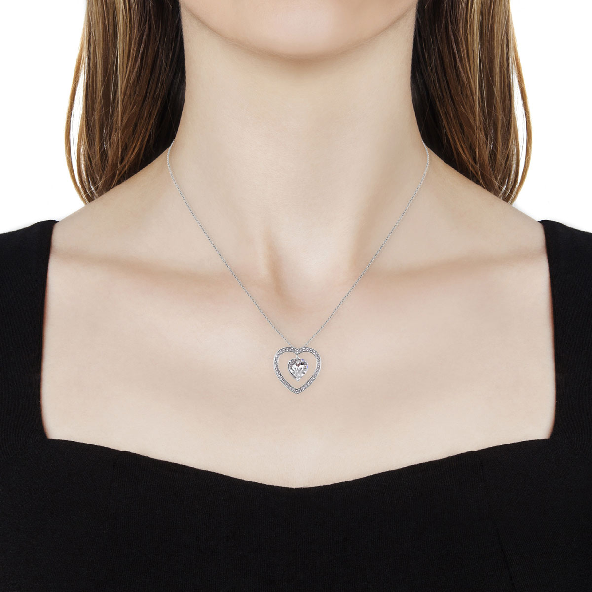 b0dfafdad73be From the Heart White SWAROVSKI Crystal Heart Pendant Necklace in 14K RG  Over Sterling Silver (18 in)