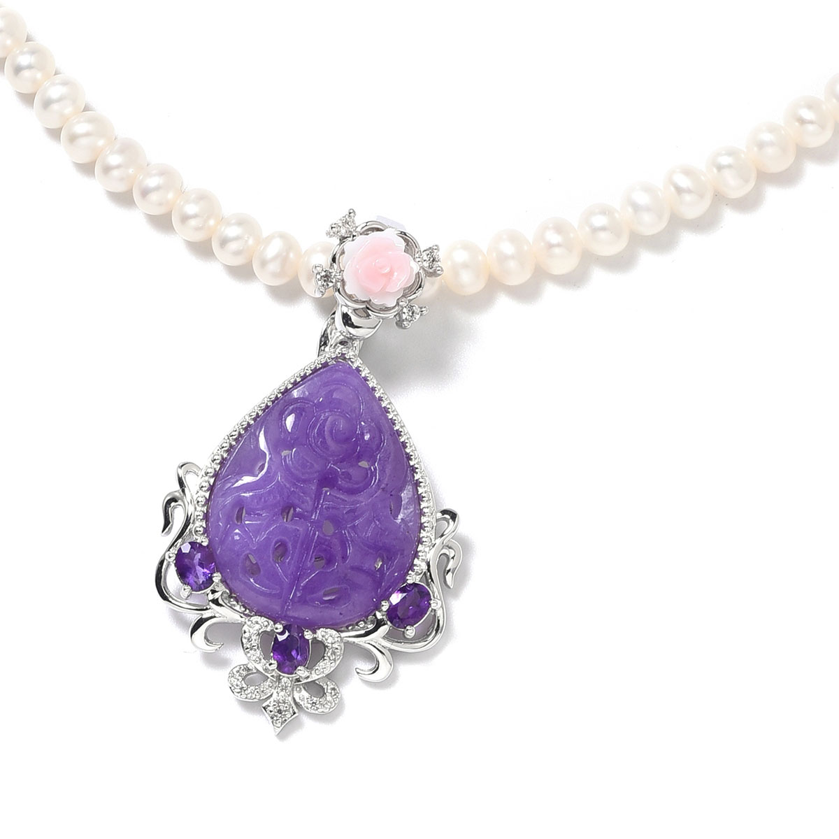 5779c0a25 Burmese Purple Jade Carved, Multi Gemstone Sterling Silver Pendant With  Pearl Necklace (18 in) 10.75 ctw | Shop LC