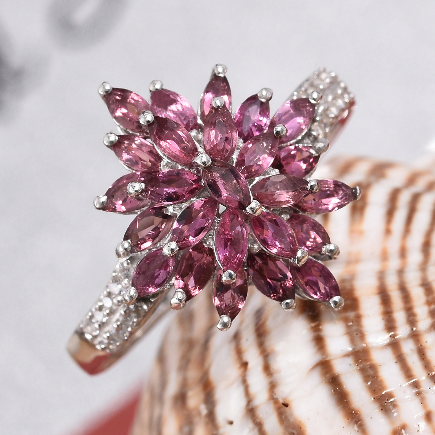 Morro Redondo Pink Tourmaline, Cambodian Zircon Ring in Platinum Over Sterling Silver (Size 5.0) 2.00 ctw