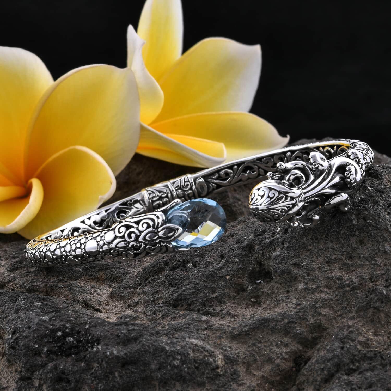 Bali Legacy Blue Topaz Octopus Cuff Bracelet in Sterling Silver