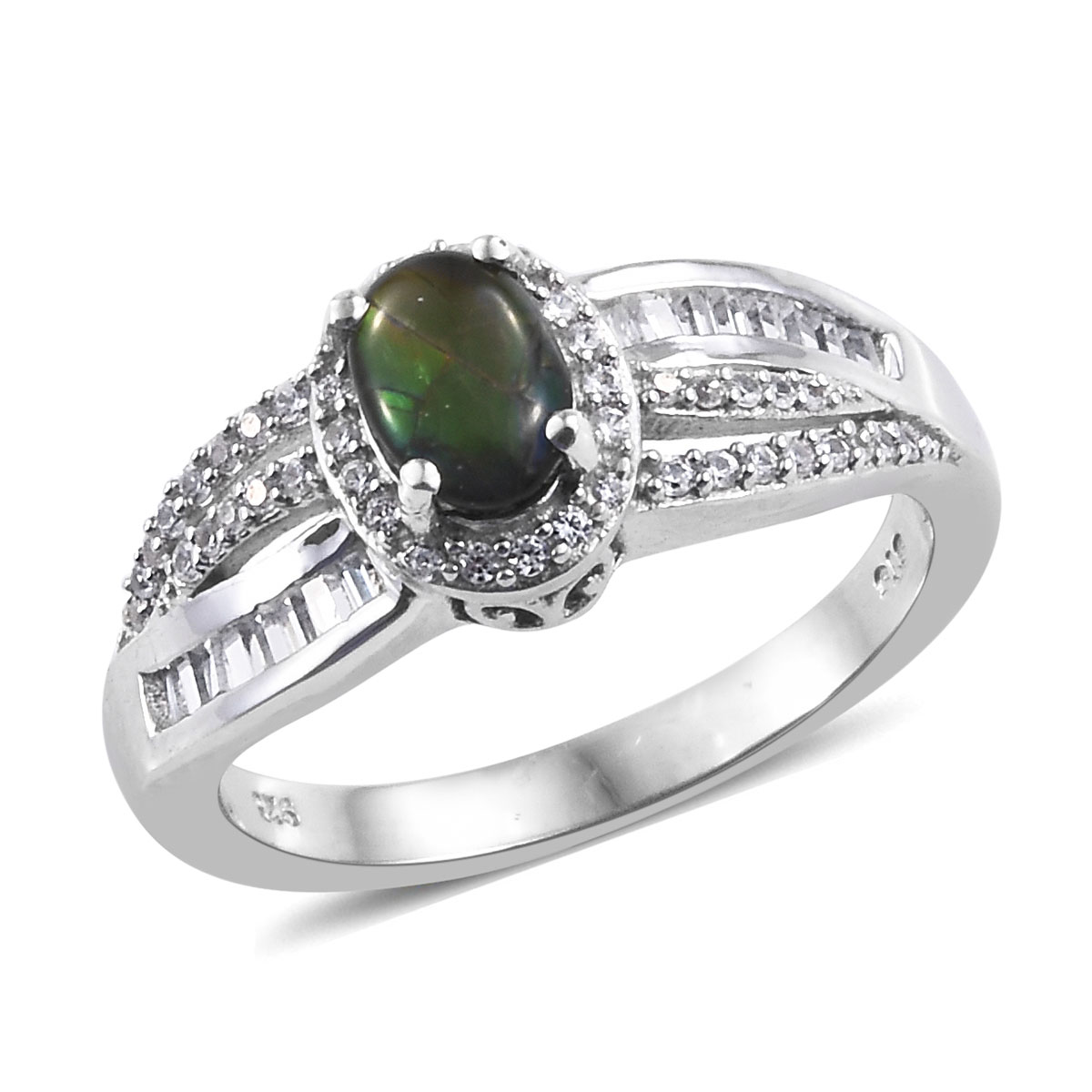 Canadian Ammolite, Cambodian Zircon Ring (Size 8) and Pendant Necklace (20 in) in Platinum Over Sterling Silver 1.24 ctw
