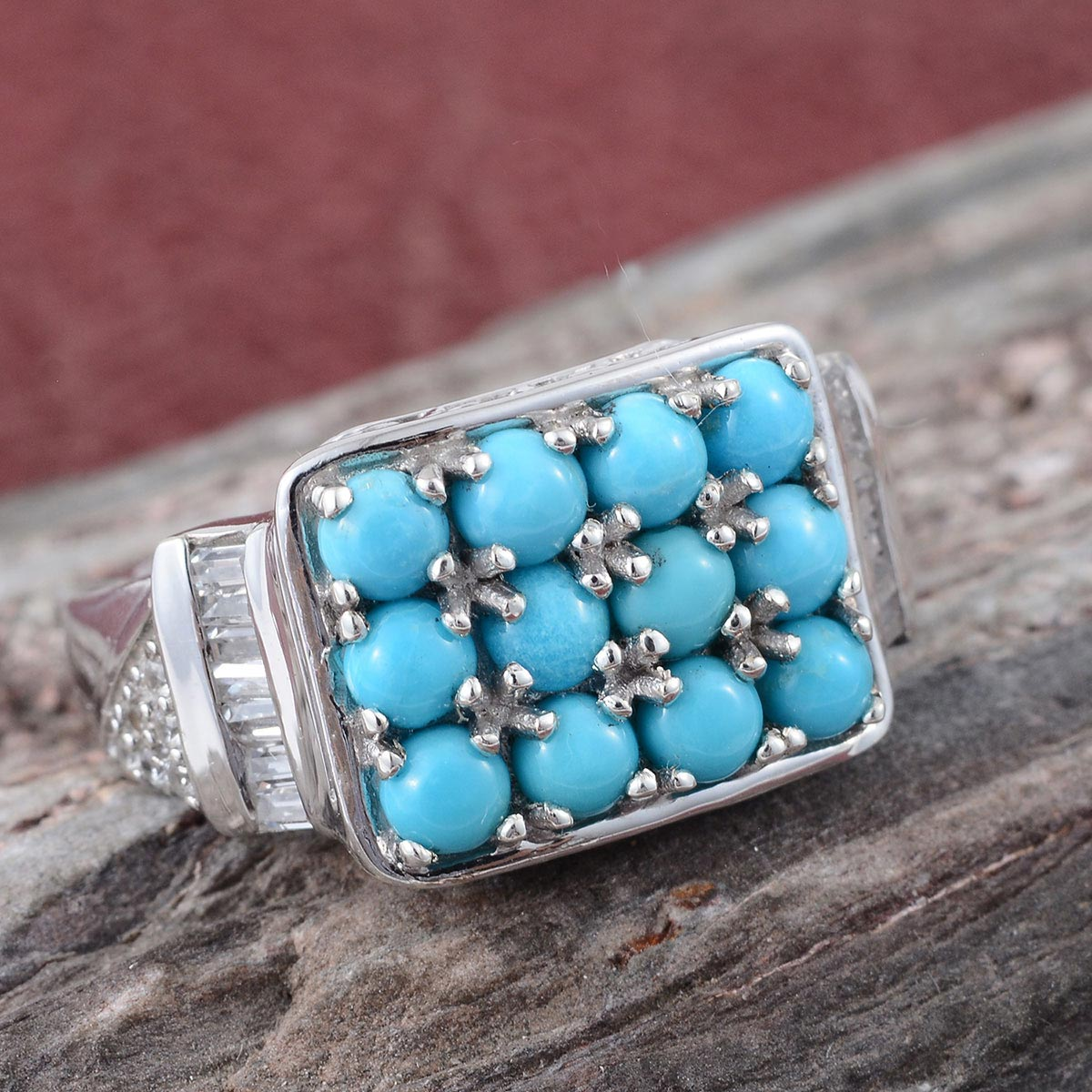Arizona Sleeping Beauty Turquoise, Cambodian Zircon Ring in Platinum Over Sterling Silver (Size 7.0) 2.05 ctw