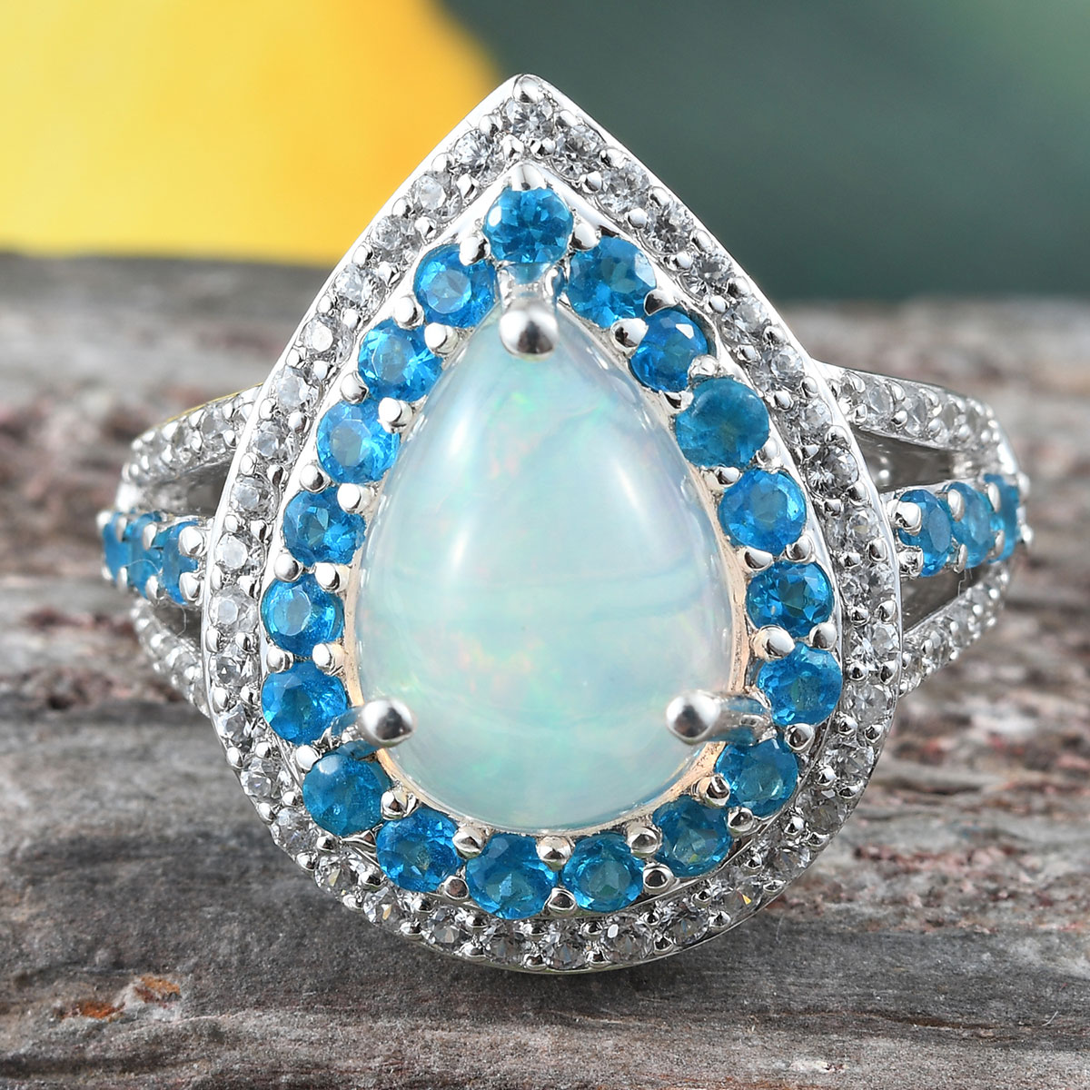 925-Sterling-Silver-Opal-Neon-Apatite-Halo-Ring-Jewelry-for-Women-Ct-4-1 thumbnail 2