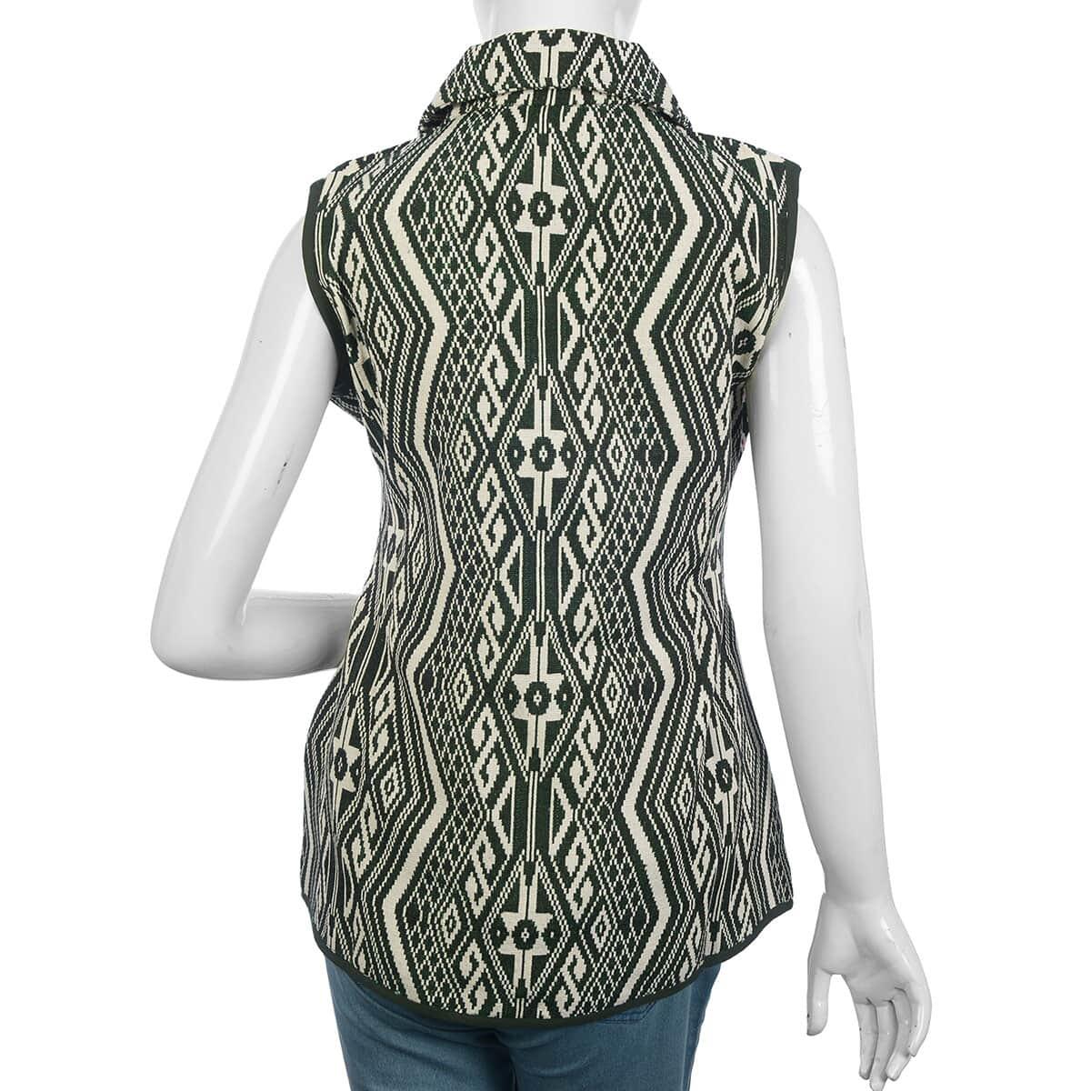 Green Geometric Woven Pattern Jacket - XL (27x47, 100% Polyester/Cotton)