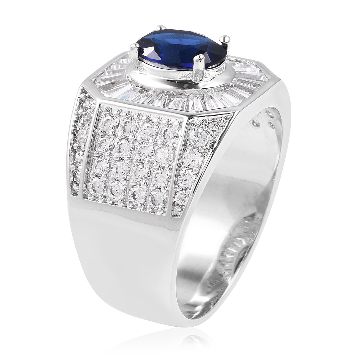 Blue and White CZ Men's Ring in Silvertone (Size 13.0) 7.87 ctw