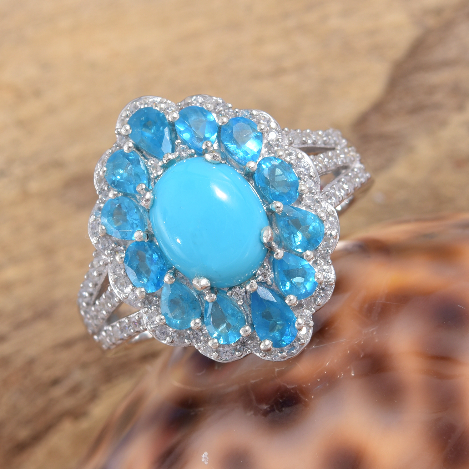 Arizona Sleeping Beauty Turquoise, Multi Gemstone Ring in Platinum Over Sterling Silver (Size 5.0) 5.35 ctw
