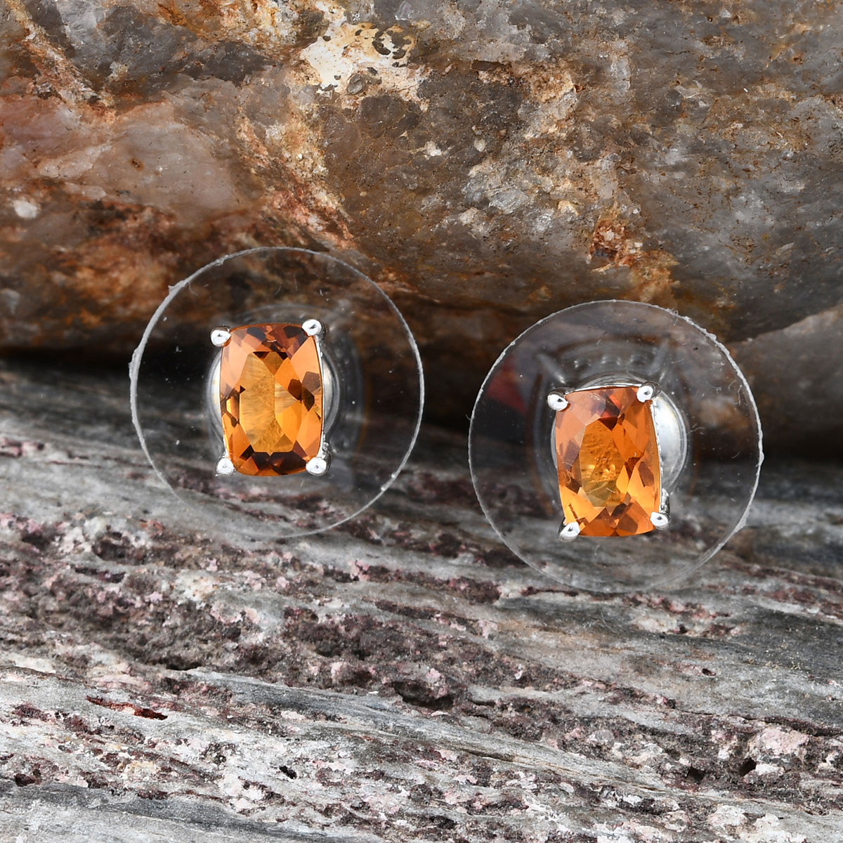 Solitaire-Earrings-925-Sterling-Silver-Cushion-Citrine-Jewelry-for-Women-Ct-1 thumbnail 2