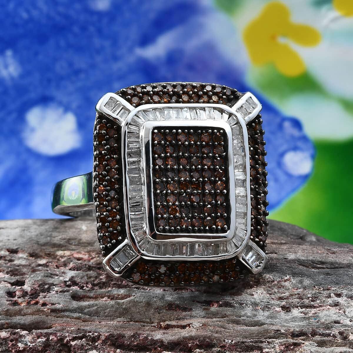 Red Diamond (IR), Diamond (0.40 ct) Ring in Rhodium & Platinum Over Sterling Silver (Size 7.0) 1.00 ctw