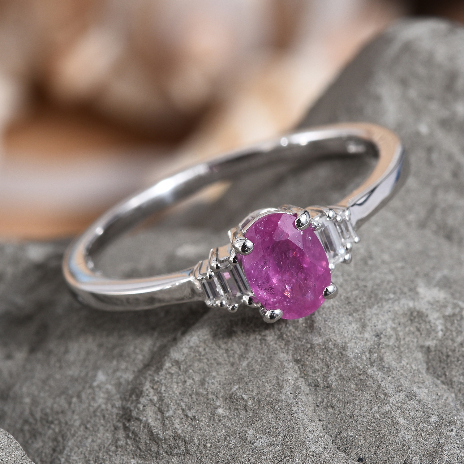 Ilakaka Hot Pink Sapphire, Cambodian Zircon Ring in Platinum Over Sterling Silver (Size 10.0) 1.56 ctw