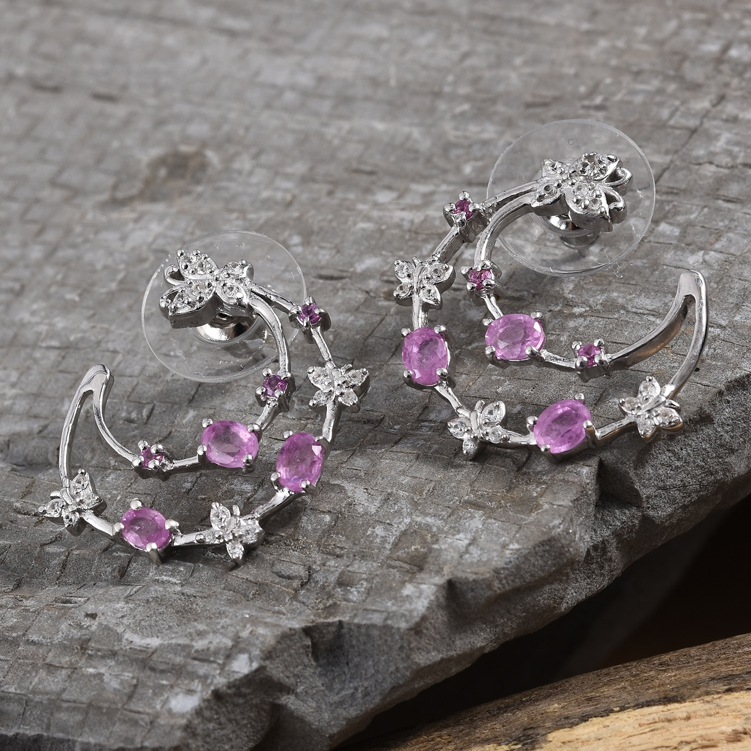 Ilakaka Hot Pink Sapphire, Multi Gemstone Butterfly Earrings in Platinum Over Sterling Silver 2.01 ctw