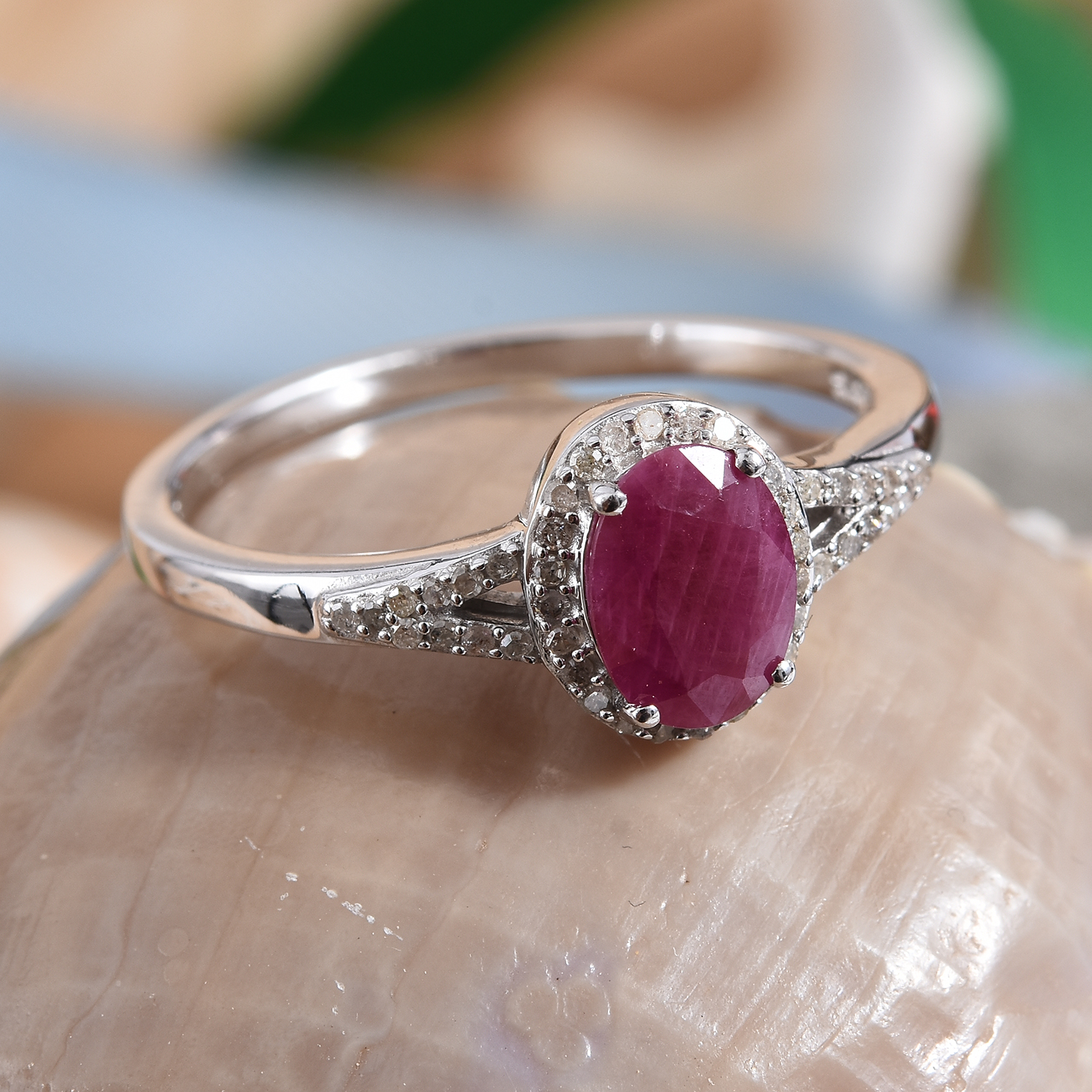 1d68bd5a37f5d Burmese Ruby, Diamond (0.17 ct) Ring in Platinum Over Sterling Silver (Size  8.0) 1.72 ctw