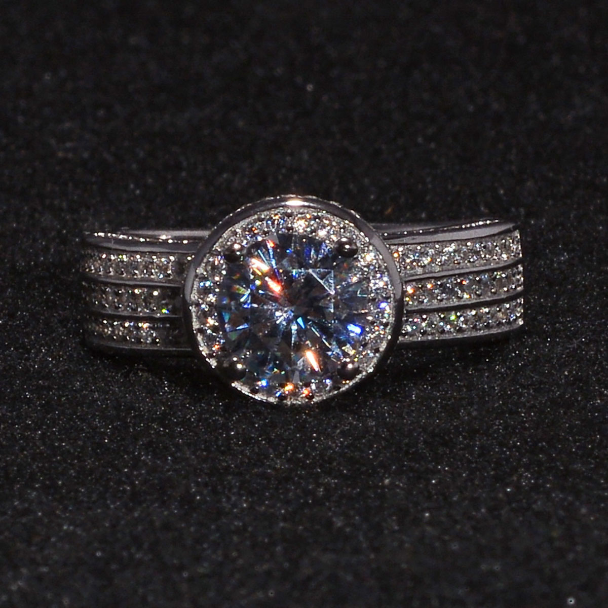 LUSTRO STELLA CZ Halo Ring in Sterling Silver (Size 5.0) 4.56 ctw