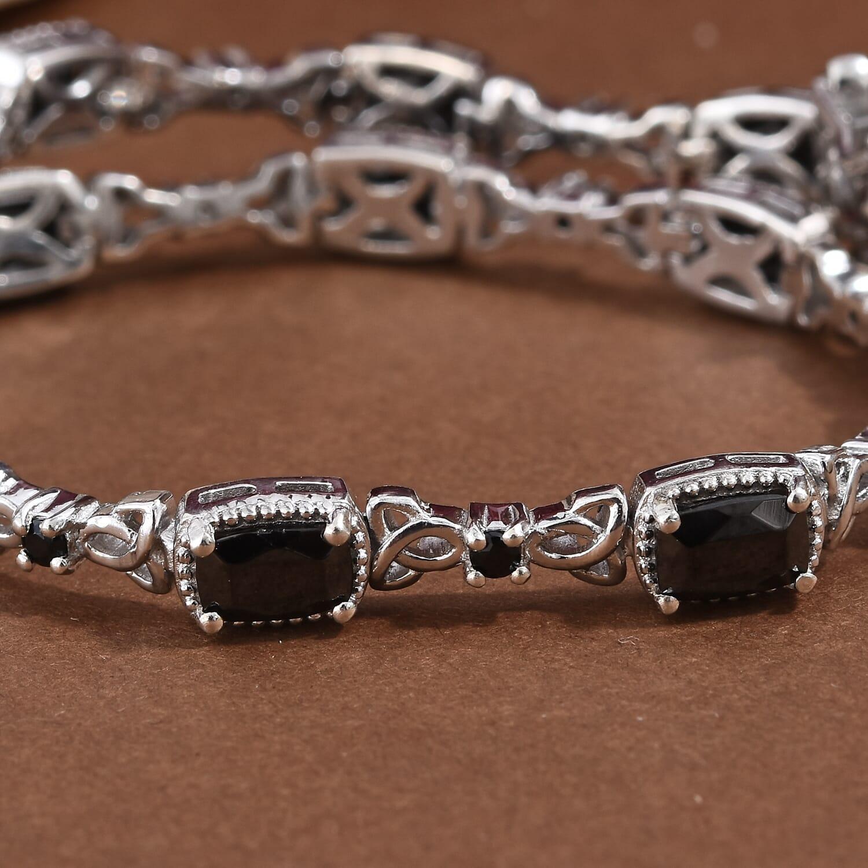 Shungite, Thai Black Spinel Bracelet in Platinum Over Sterling Silver (8.00 In) 3.85 ctw