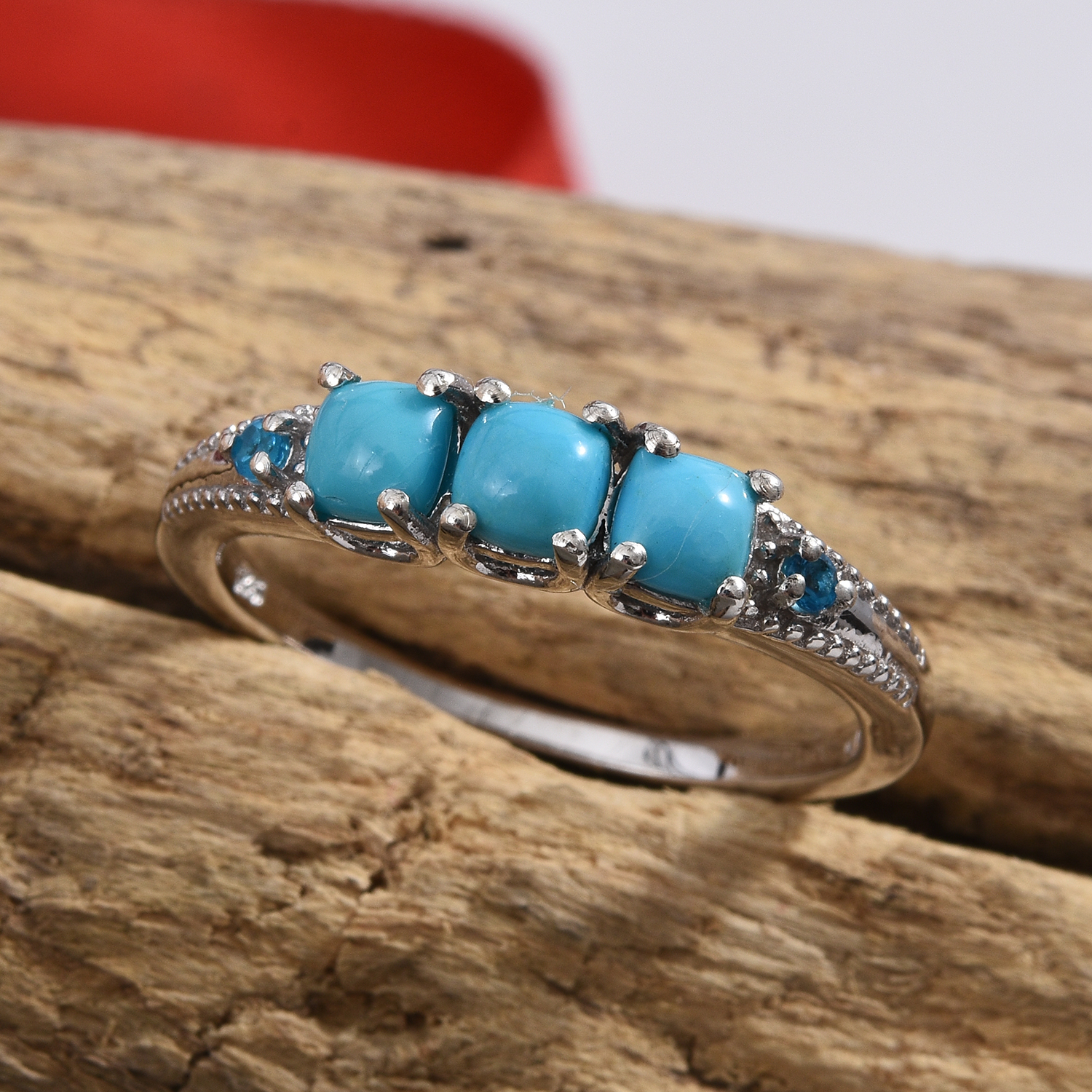 Arizona Sleeping Beauty Turquoise 3 Stone Ring in Platinum Over Sterling Silver (Size 5.0) 0.90 ctw