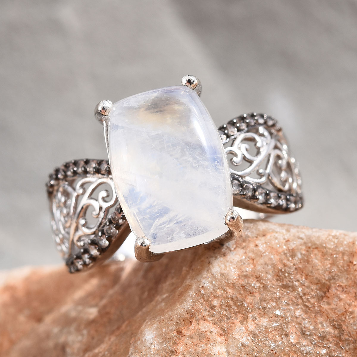 Rainbow Moonstone, Coffee Zircon Ring in Platinum Over Sterling Silver (Size 9.0) 8.34 ctw