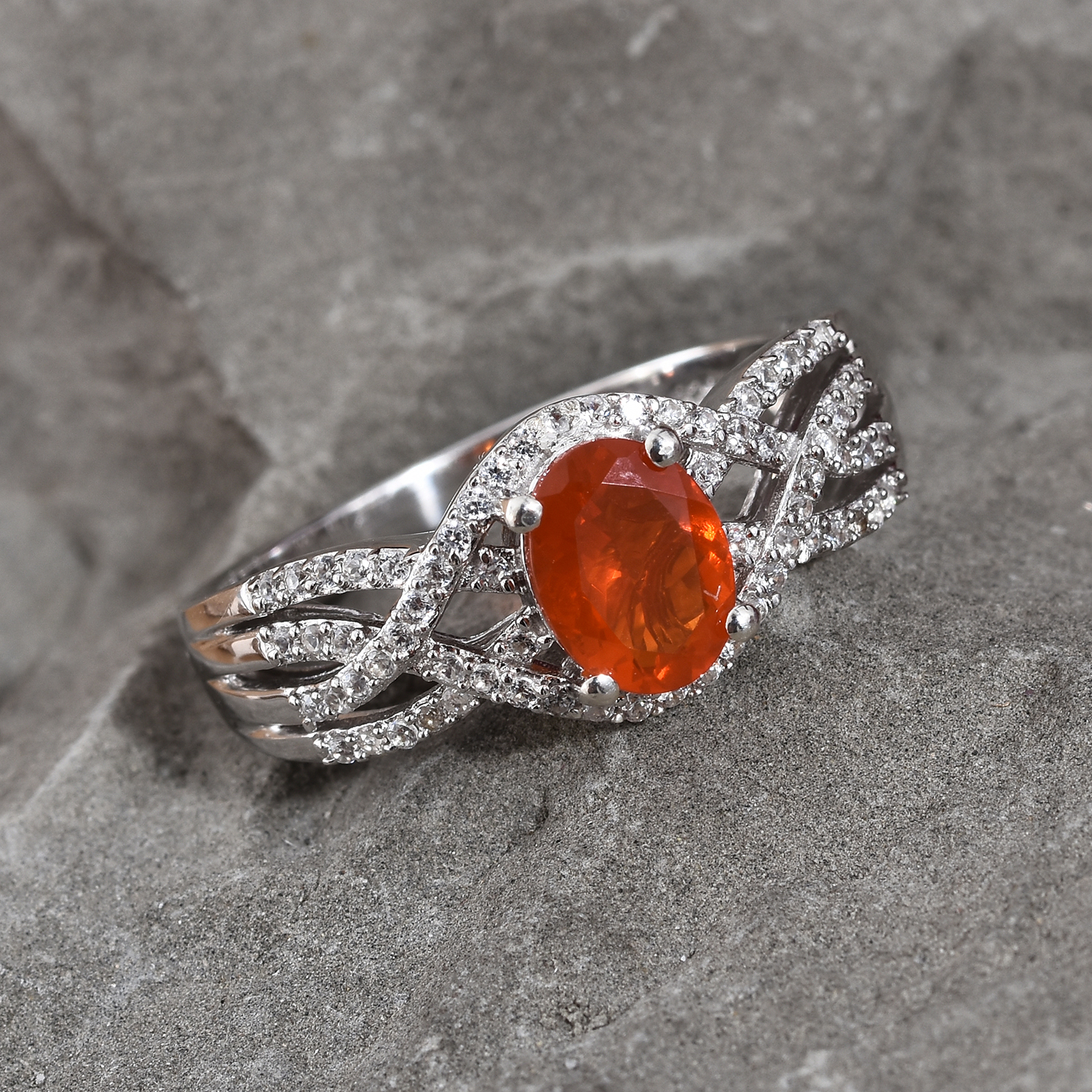 Crimson Fire Opal, Cambodian Zircon Ring in Platinum Over Sterling Silver (Size 7.0) 1.45 ctw