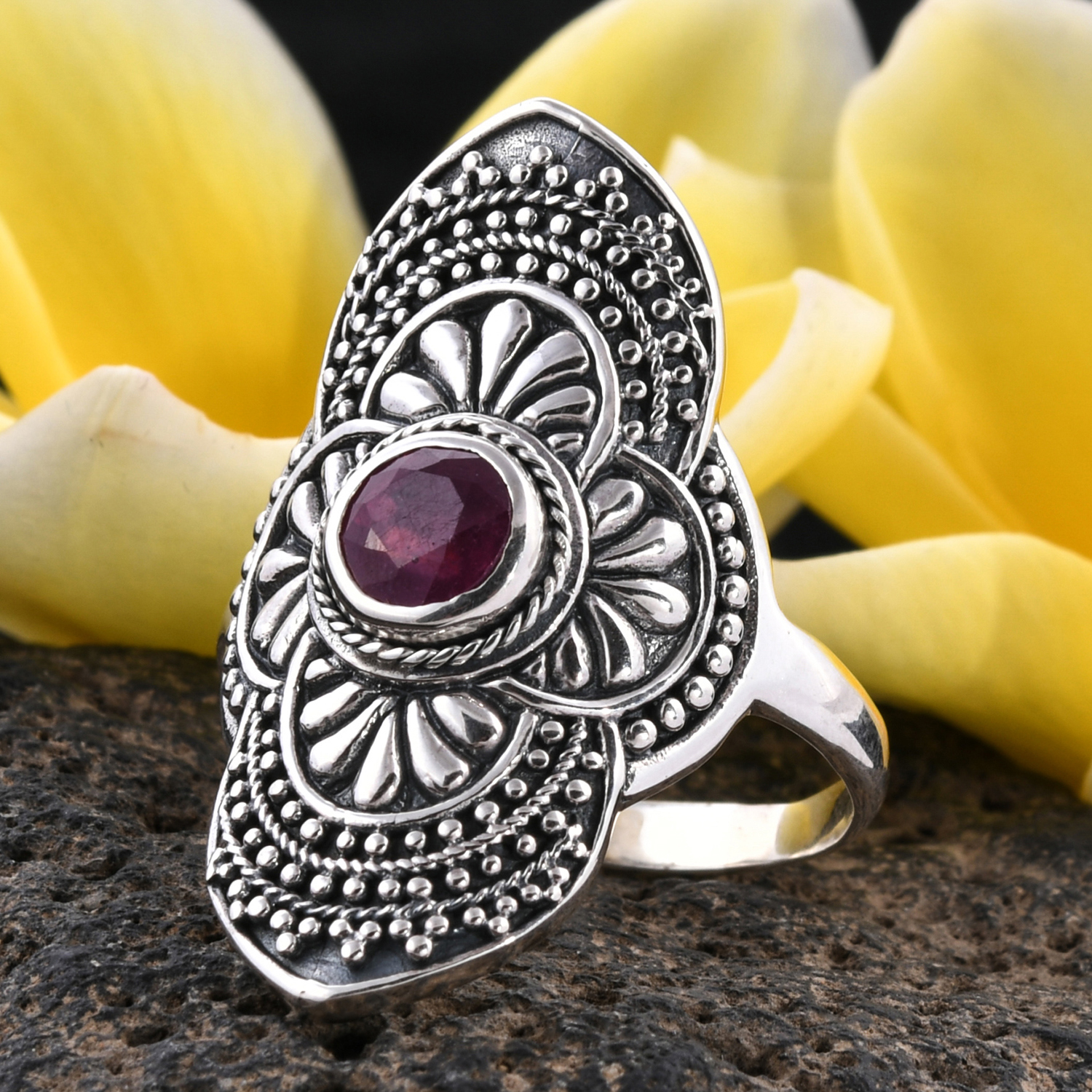 Bali Legacy Niassa Ruby Ring in Sterling Silver (Size 9.0) 1.72 ctw